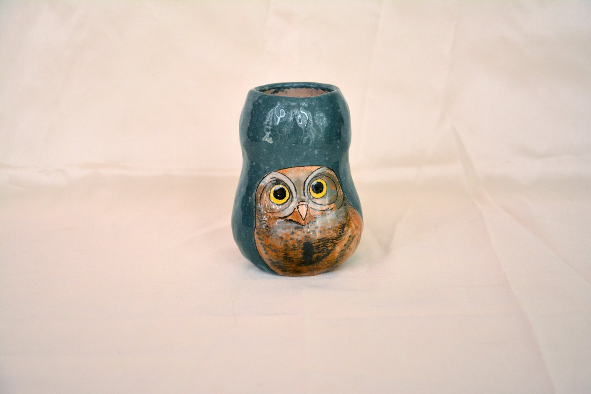 Hand painted vase (with a picture) «Sweet Owlet», height - 11 cm. Photo 18.