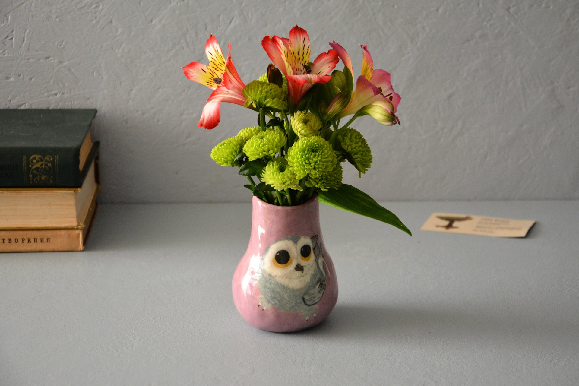 Hand painted vase (with a picture) «The Snowy owl», height - 10 cm. Photo 985.