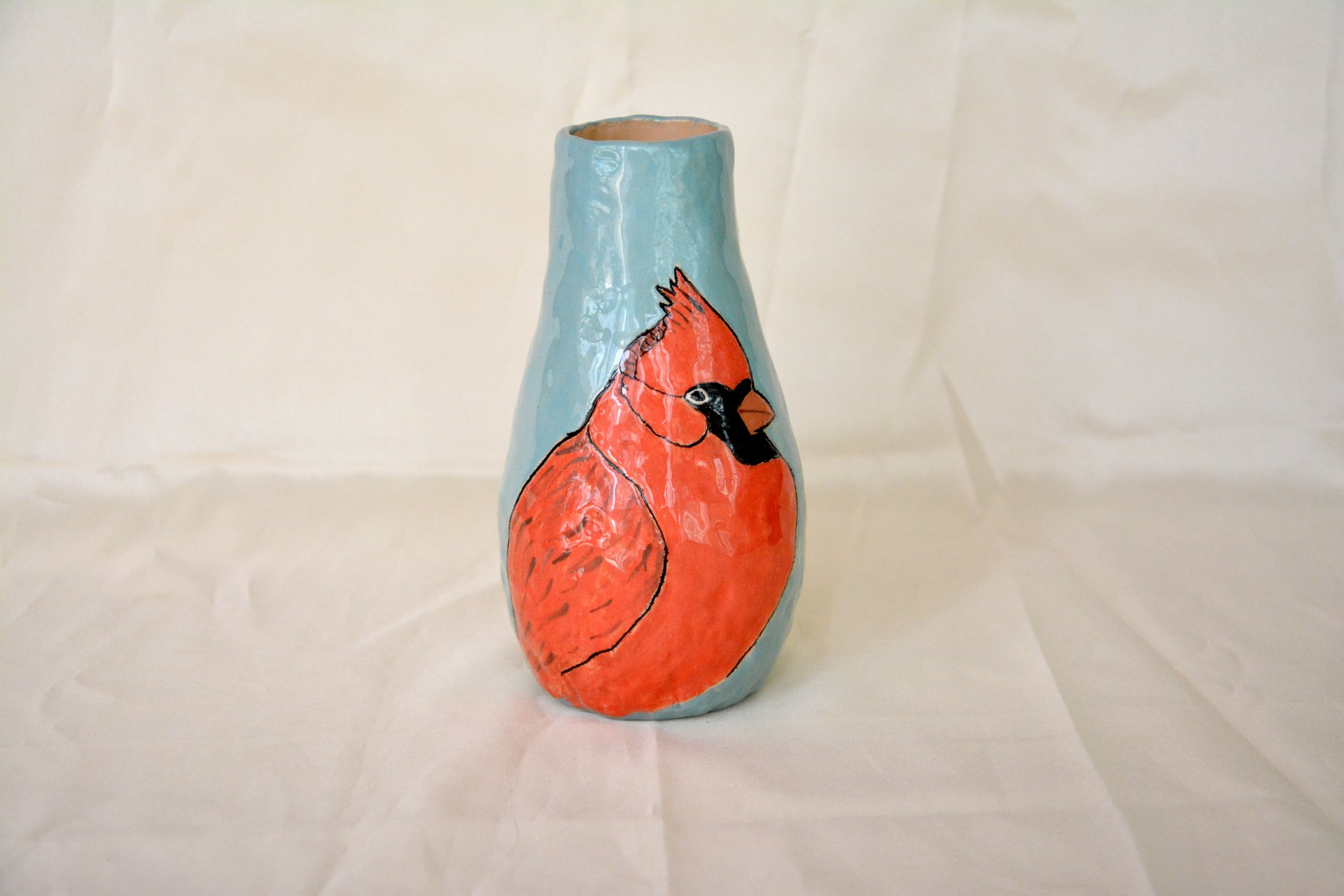 Hand painted vase (with a picture) «Birdie Cardinal», height - 18 cm. Photo 16.