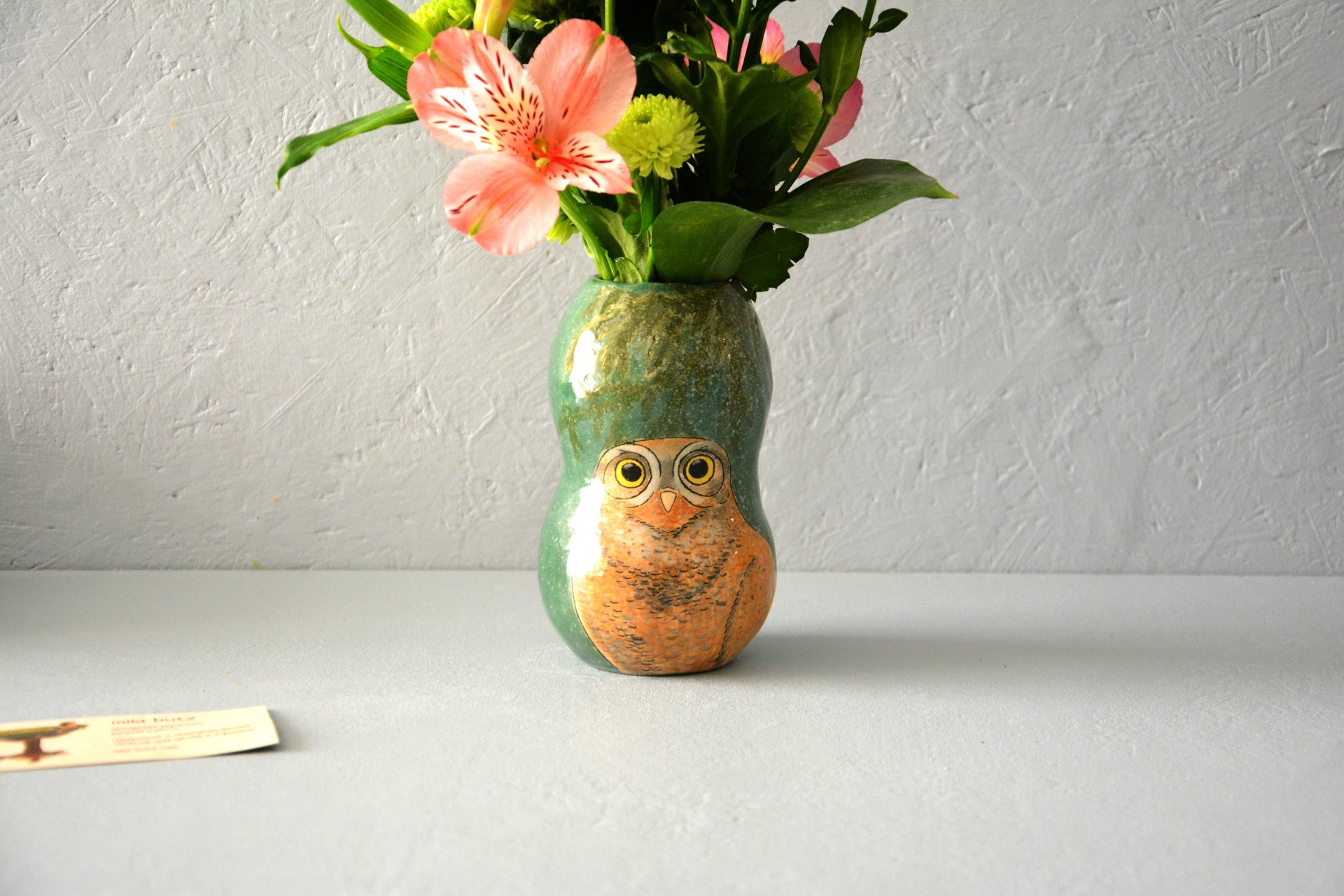 Vase with the image of the Burrowing owl, height - 13 cm, photo 6 of 6. 581.