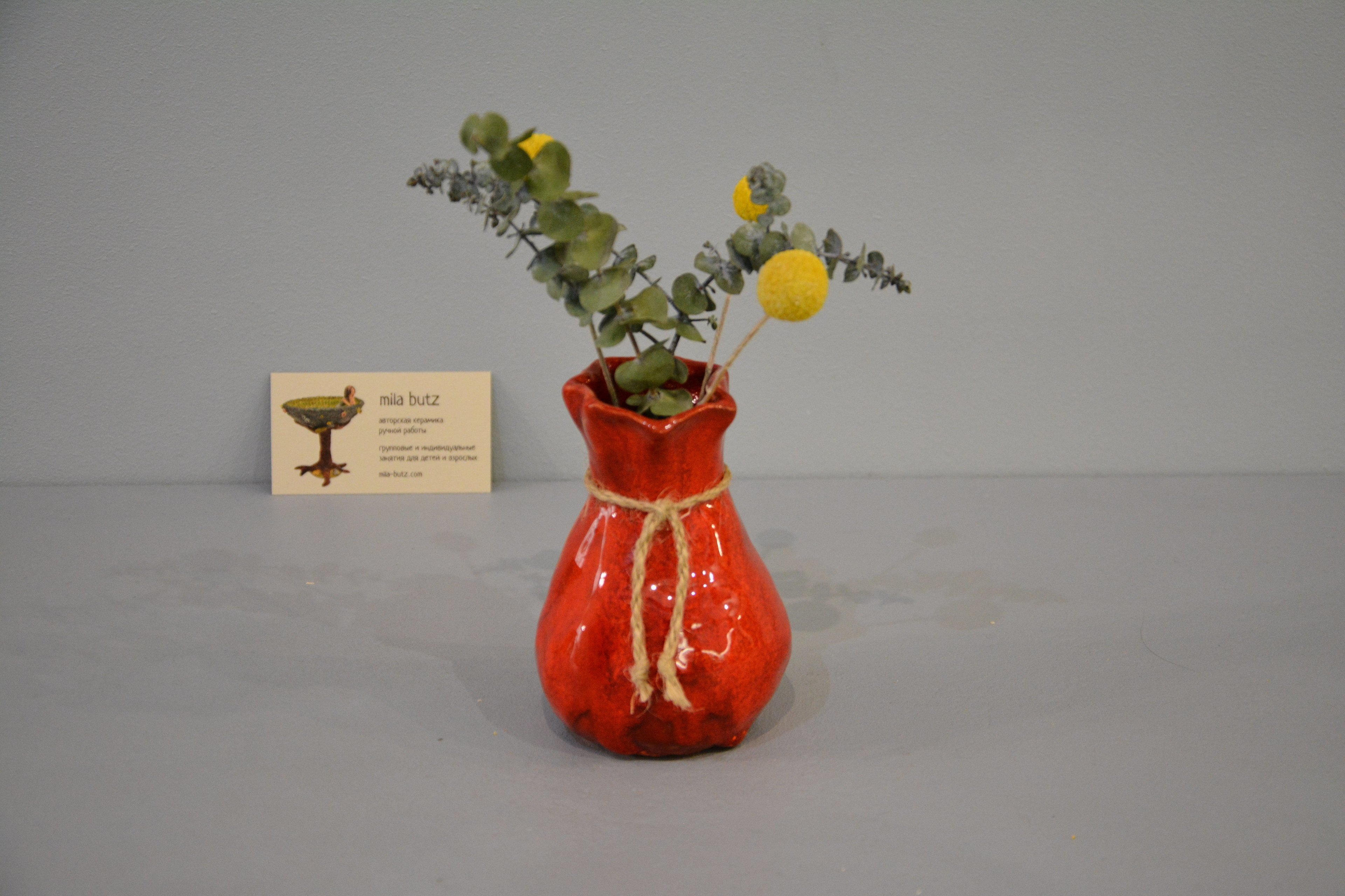 Small Vase or flowers «Red Bagful», height - 12 cm, color - red. Photo 1429.