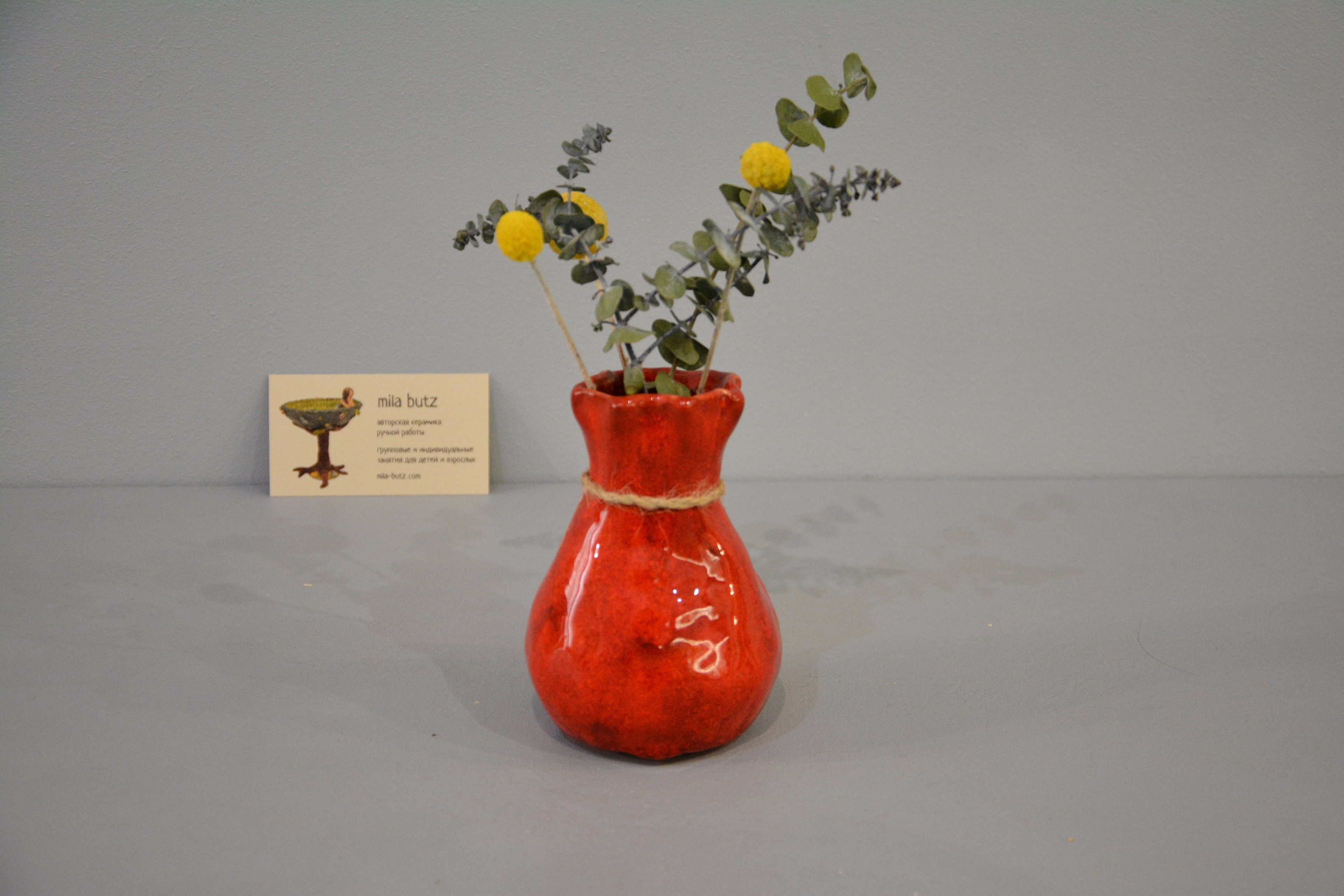 Small Vase or flowers «Red Bagful», height - 12 cm, color - red. Photo 1427.