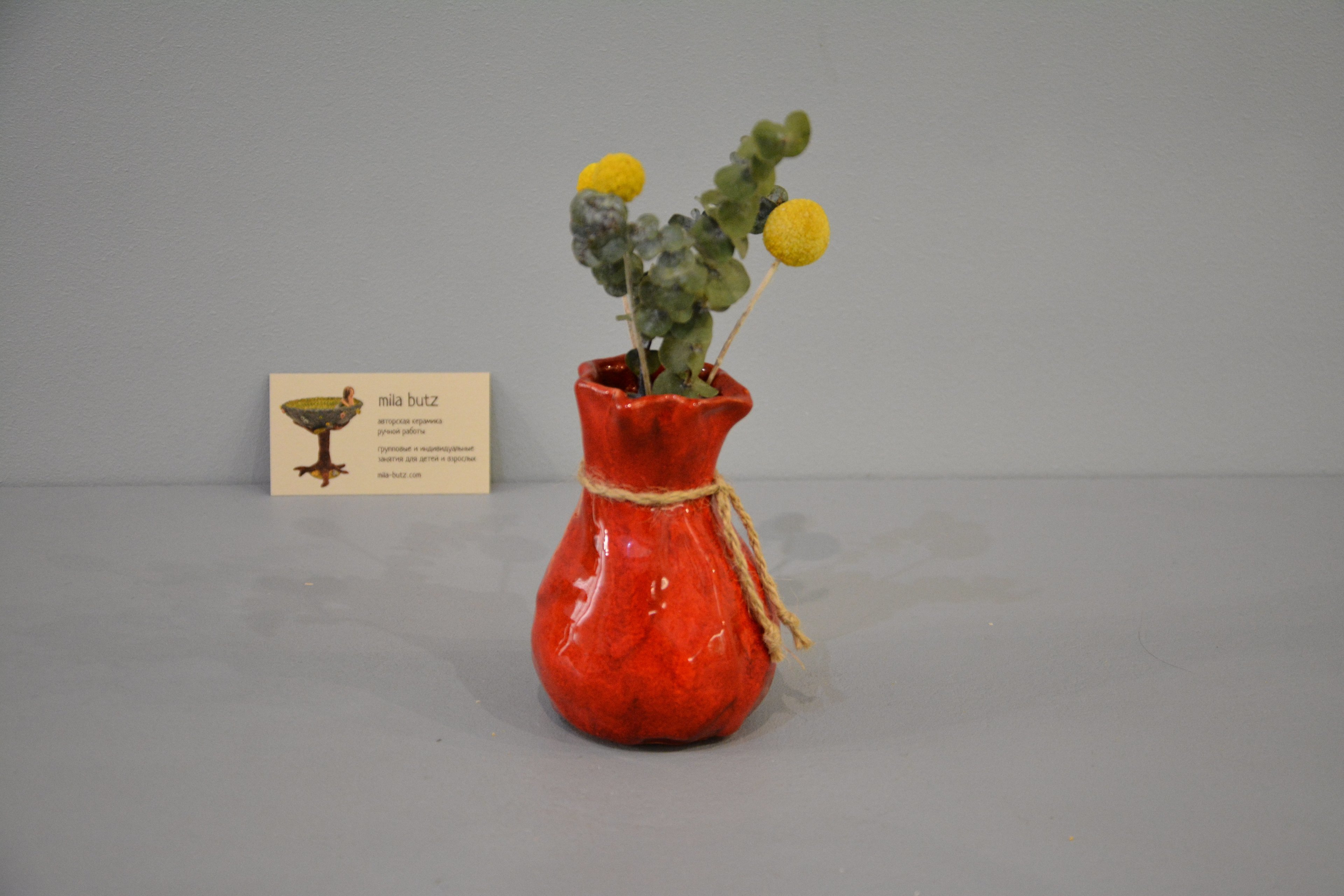 Small Vase or flowers «Red Bagful», height - 12 cm, color - red. Photo 1428.