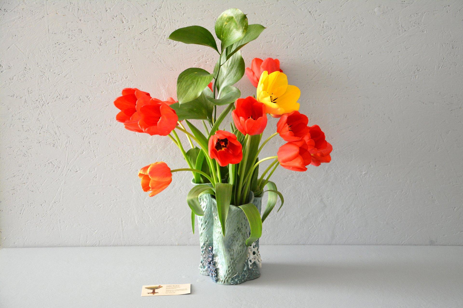 Ceramic Handmade Vase Coral, Height  19 Cm Photo 5