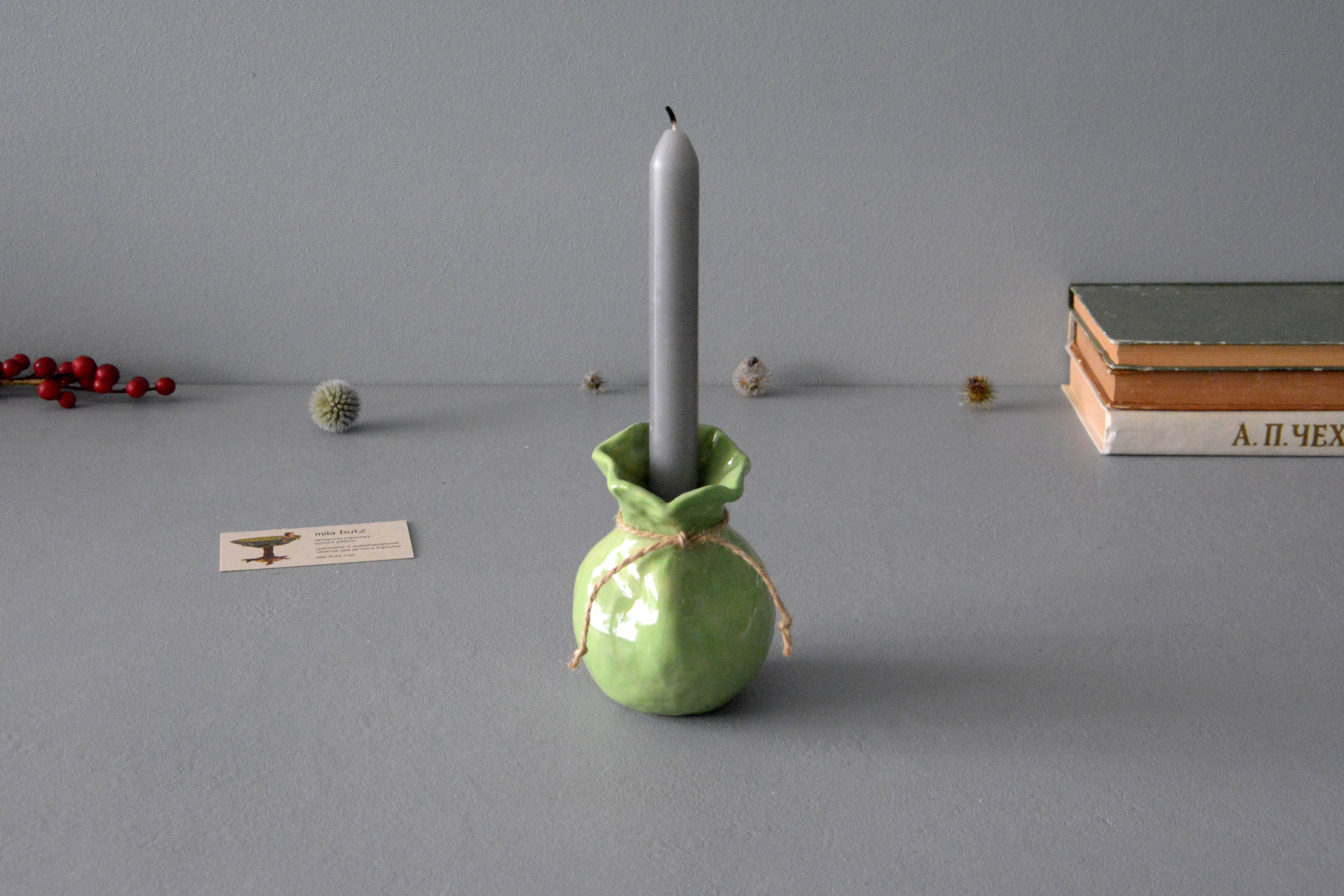 Candle vase «Light green Bagful», height - 11 cm, color - green. Photo 1228.
