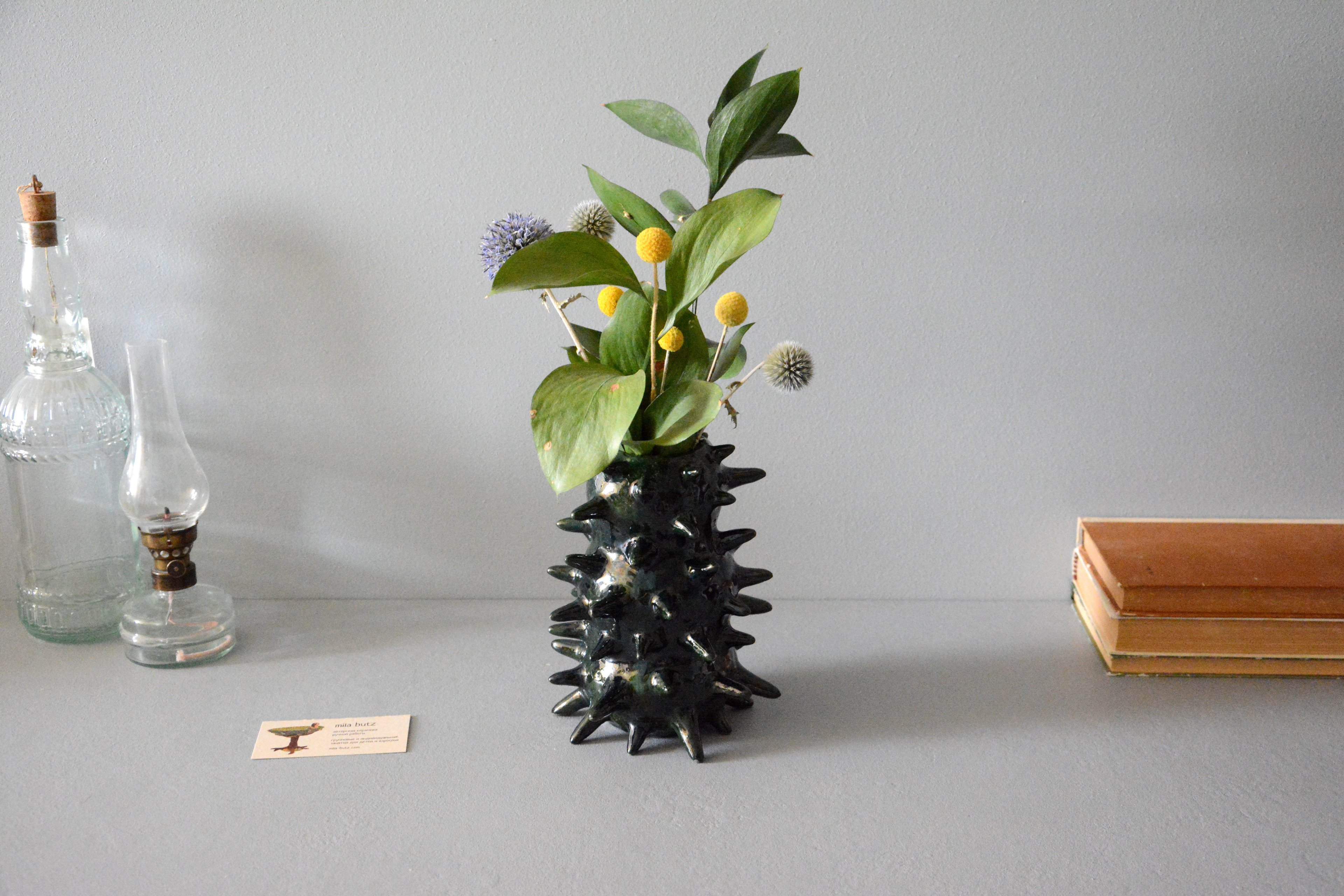 Interior vase «Pearl deep green Spikes», height - 18 cm, color -  pearl-green. Photo 1237.
