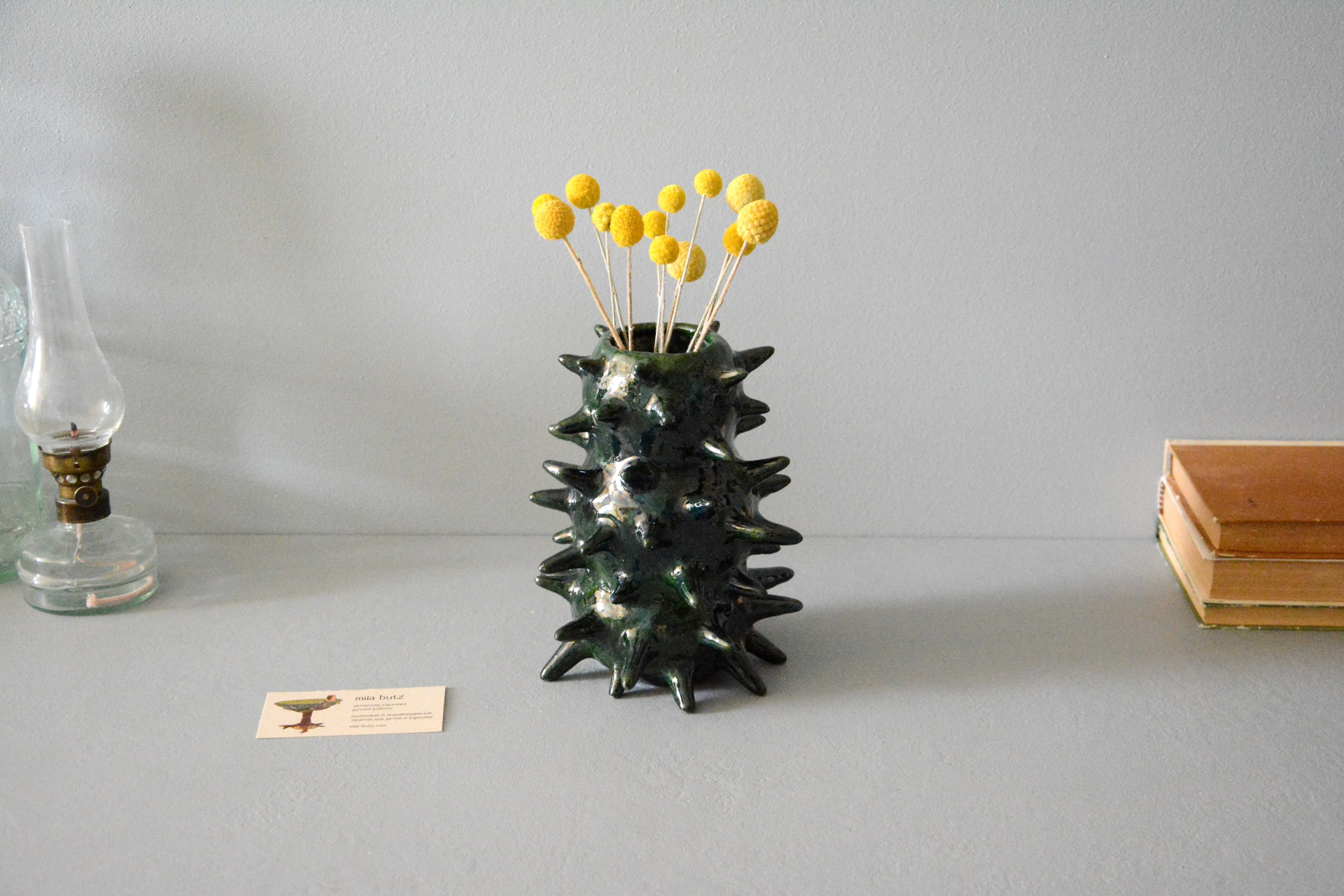 Decorative vase of unusual shape «Spikes», height - 18 cm, color -  pearl-green, photo 5 of 6. 1241.