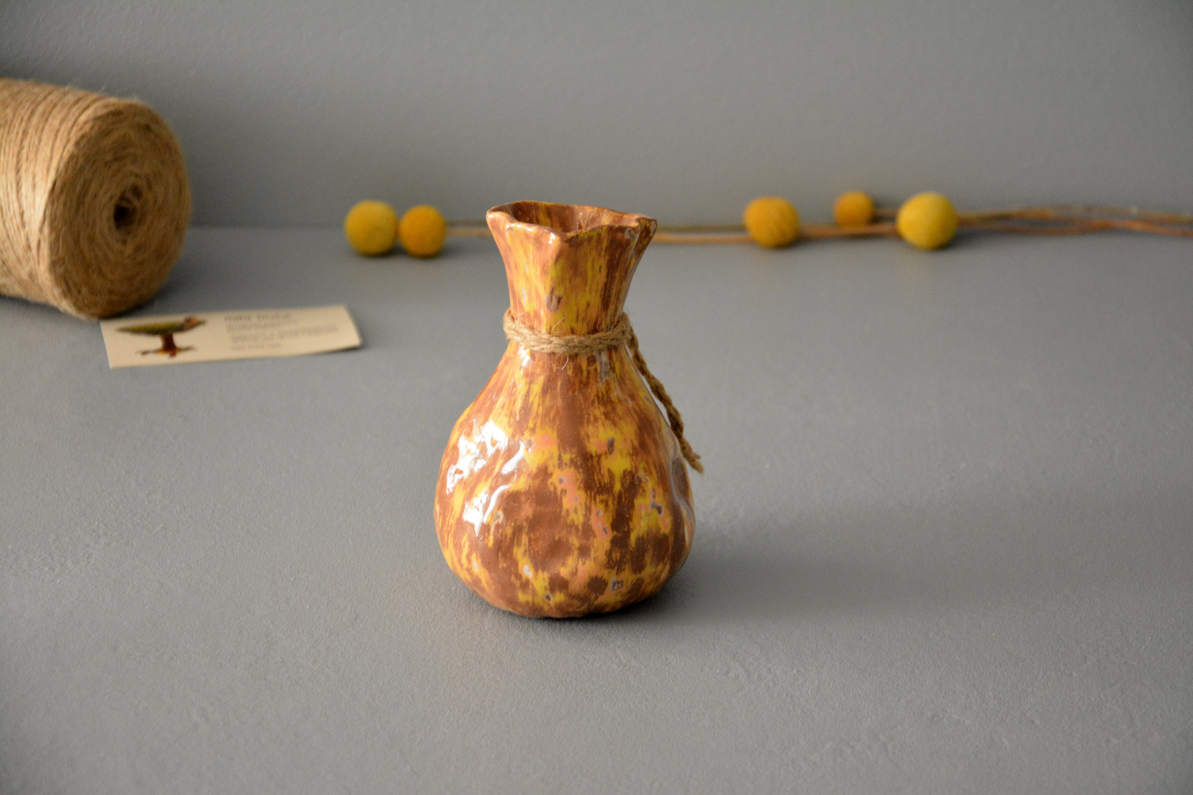 Interior vase «Yellow-brown Bagful», height - 13 cm. Photo 1198.