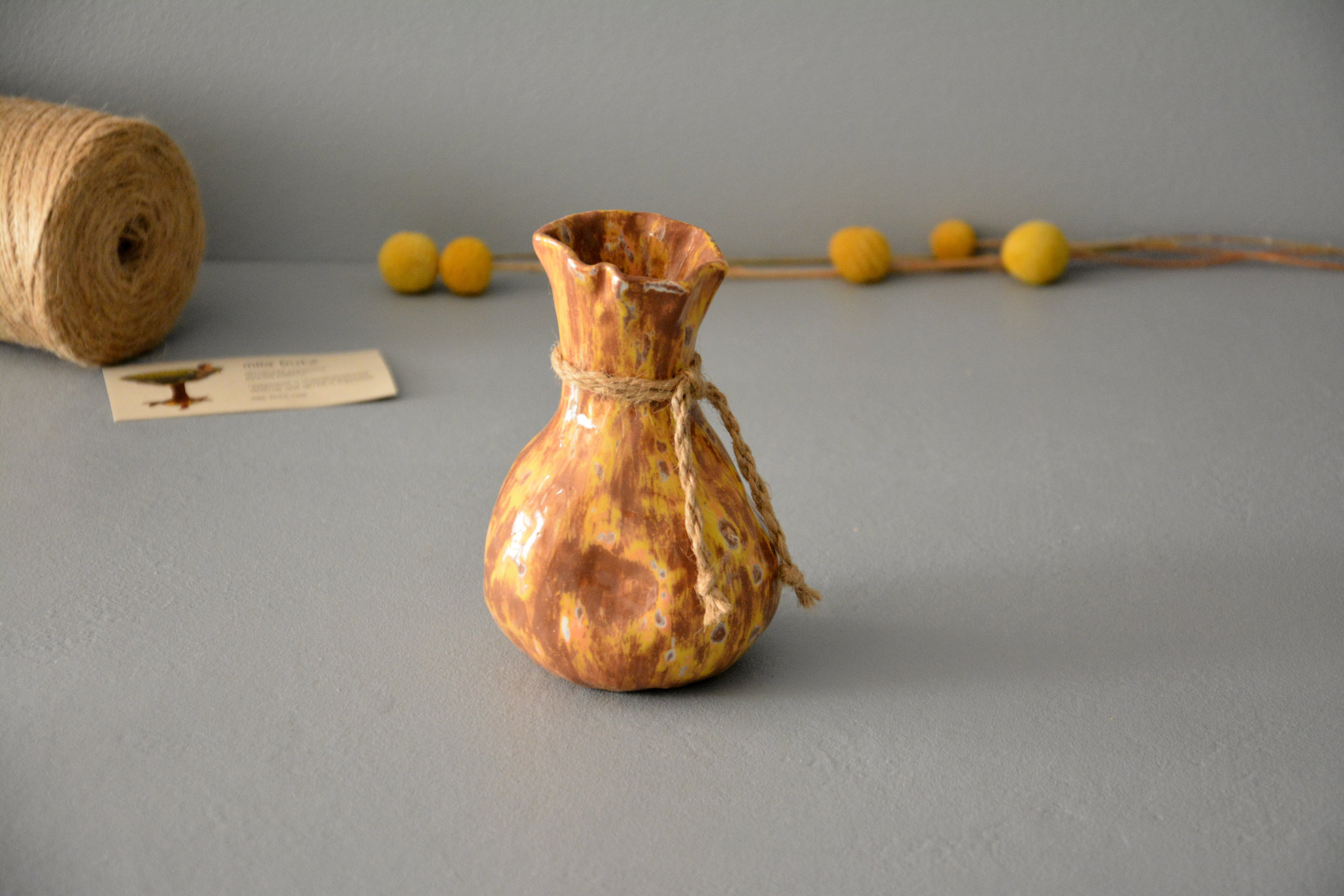 Ceramic small vase candlestick yellow-brown bagful, height - 13 cm, photo 6 of 8. 1197.