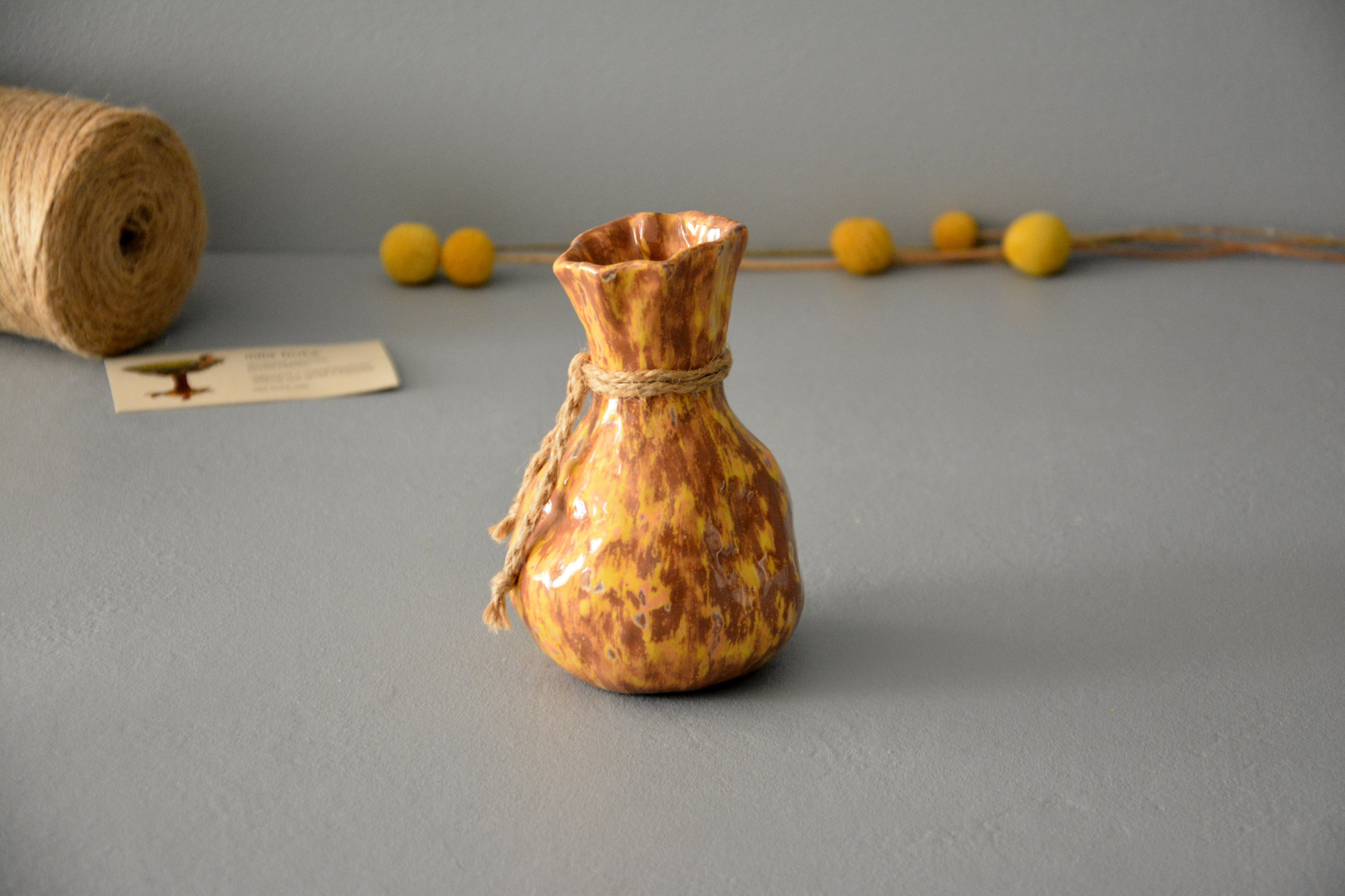 Ceramic small vase candlestick yellow-brown bagful, height - 13 cm, photo 7 of 8. 1199.