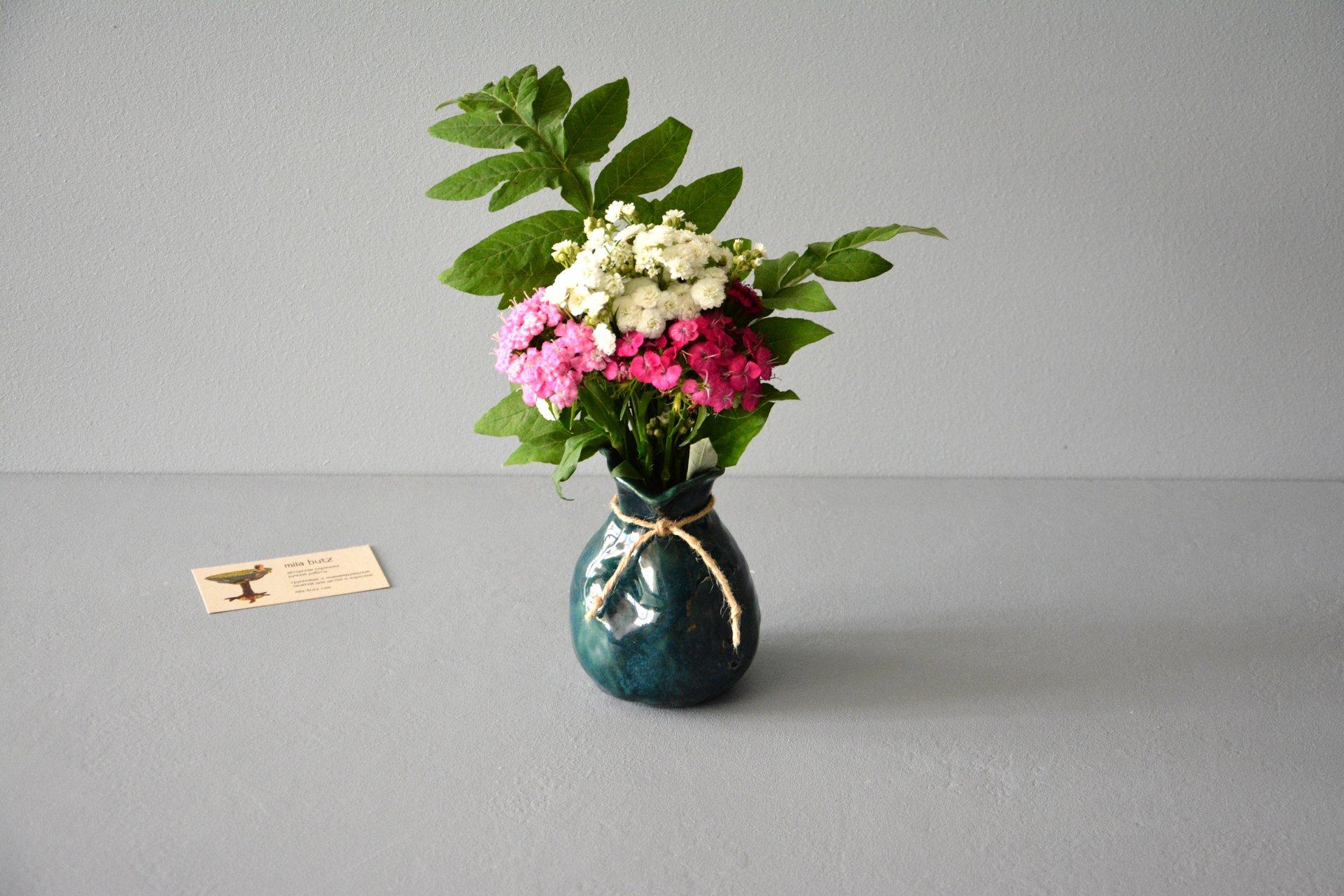 """Декоративная ваза """"Невероятный зелёный Мешочек"""""""