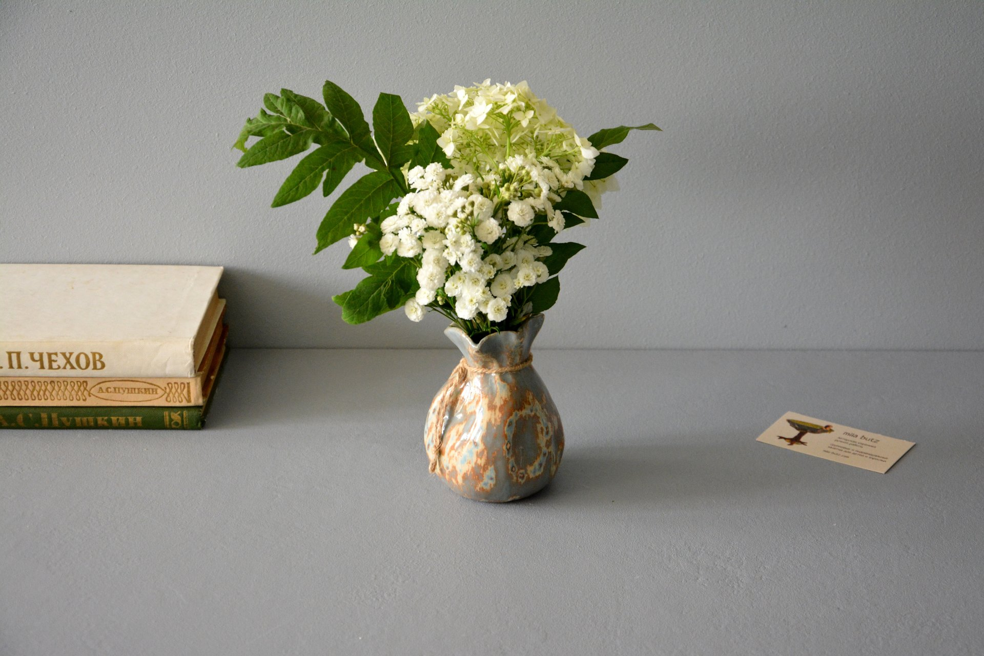Small Vase or flowers «Gray-blue bagful», height - 12 cm, color - gray-blue. Photo 1002.