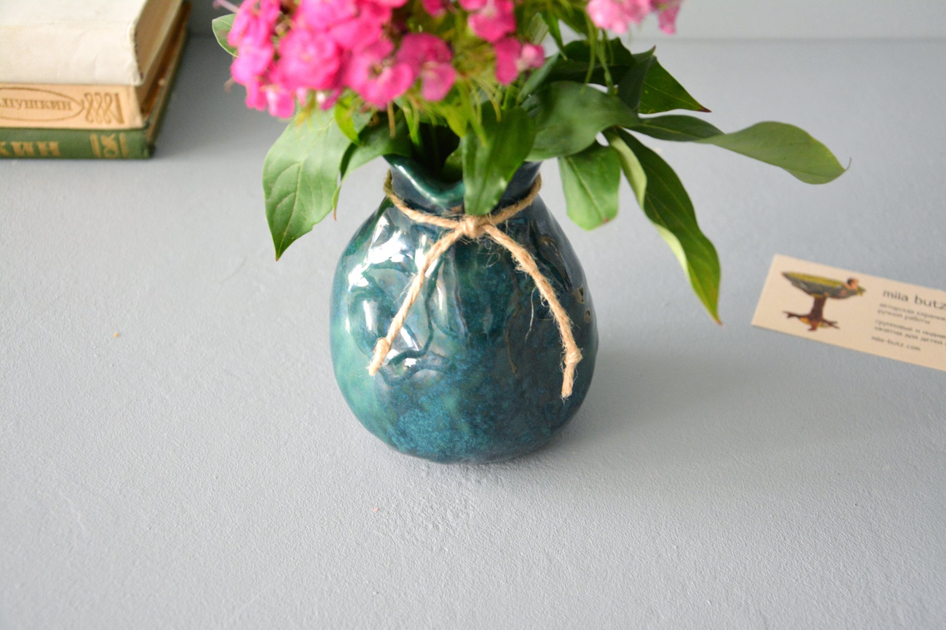 Exclusive vase is an incredible green bag, height - 12 cm, color - deep emerald, photo 8 of 8. 1028.