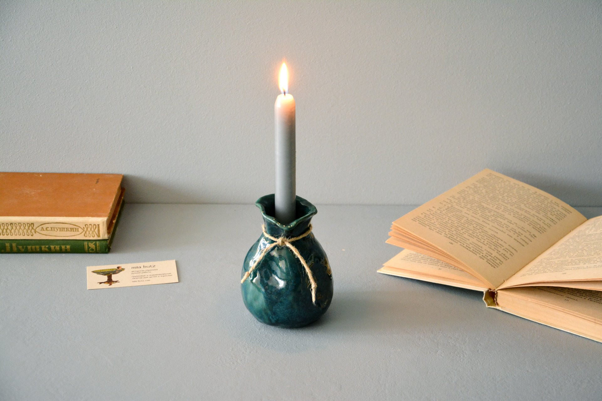 Candle vase «Incredible Green Bagful», height - 12 cm, color - deep emerald. Photo 1010.