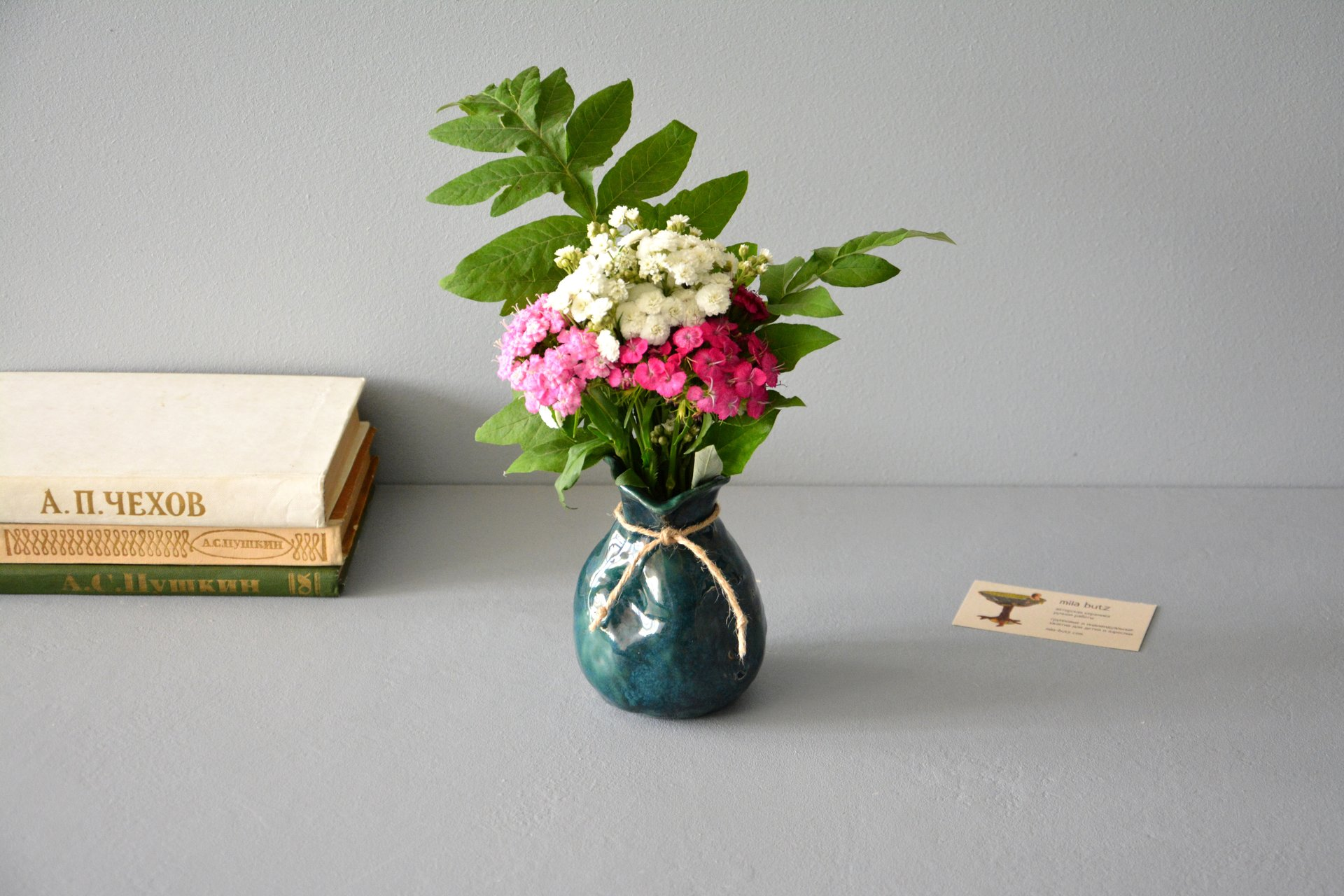 Small Vase or flowers «Incredible Green Bagful», height - 12 cm, color - deep emerald. Photo 1006.