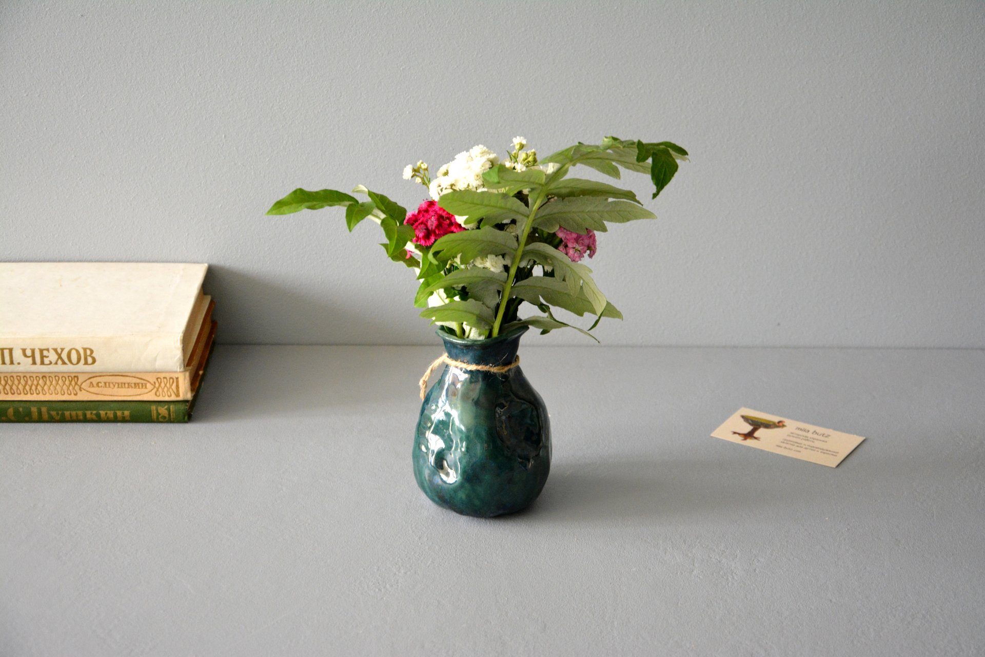 Exclusive vase is an incredible green bag, height - 12 cm, color - deep emerald, photo 5 of 8. 1008.