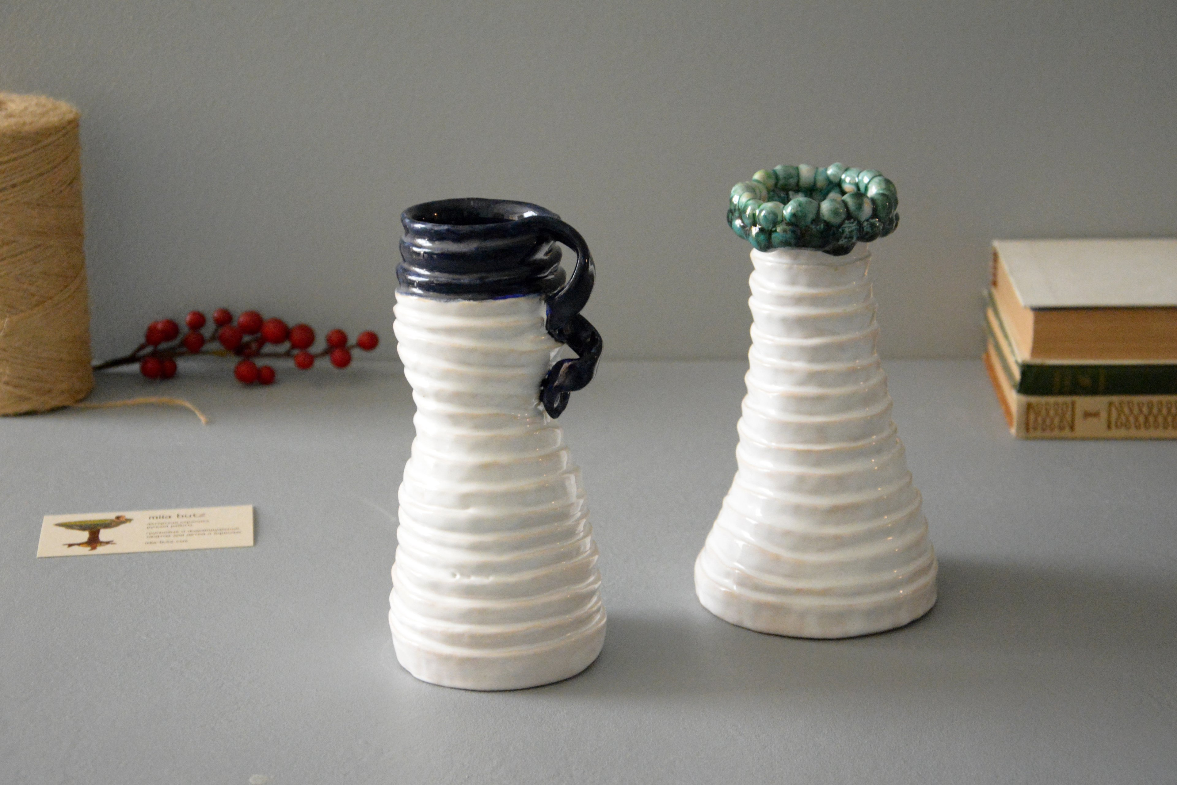 White-blue ceramic vase «Tourniquets and webbing», height - 18 cm, color - white, photo 5 of 7. 1233.