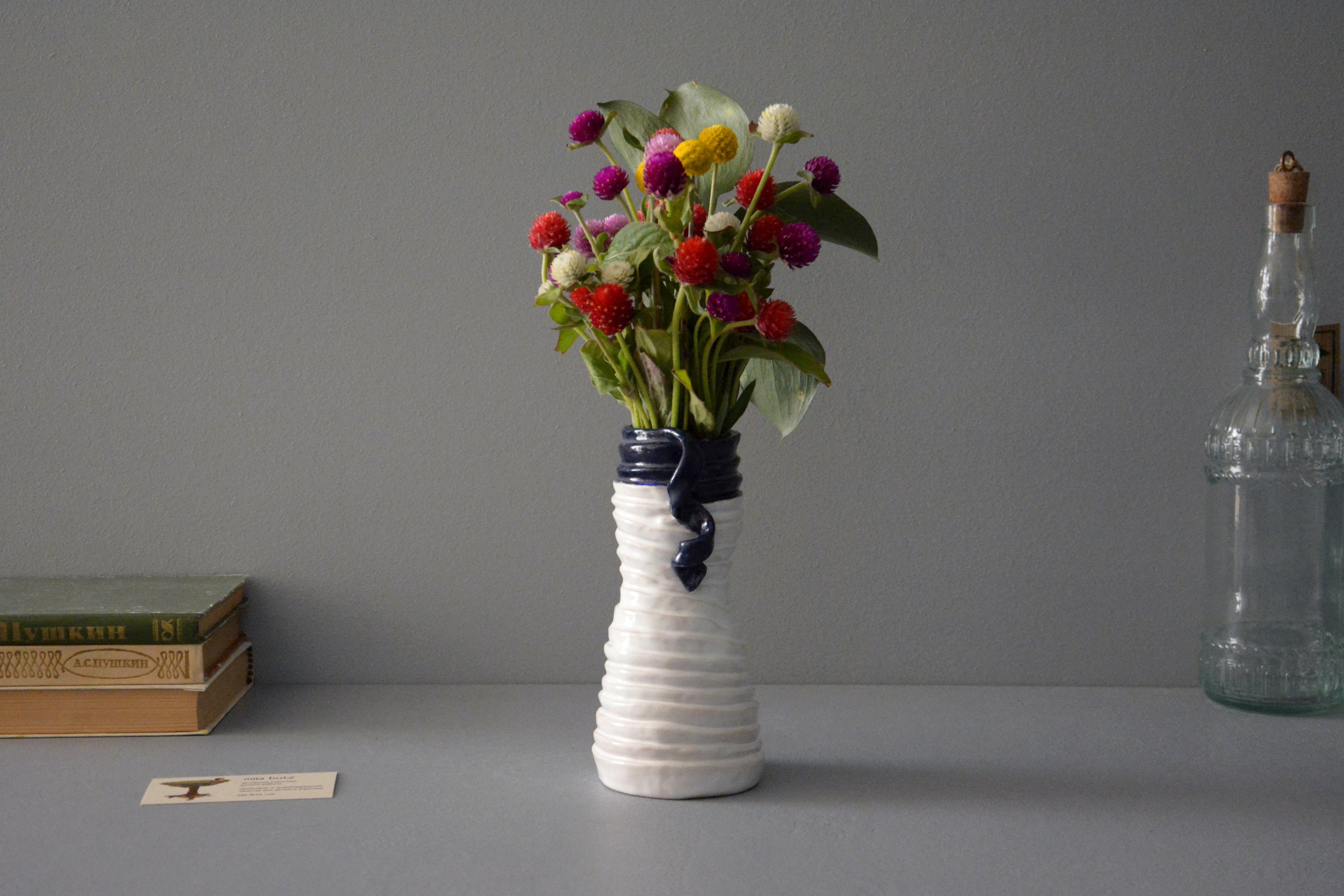 White-blue ceramic vase «Tourniquets and webbing», height - 18 cm, color - white, photo 7 of 7. 1245.