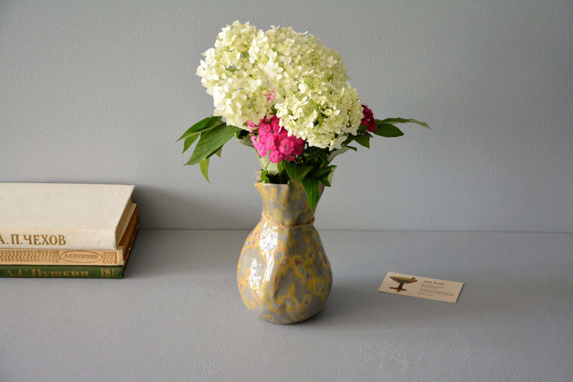 Candle vase «Shabby gray Bagful», height - 17 cm, color - gray. Photo 991.
