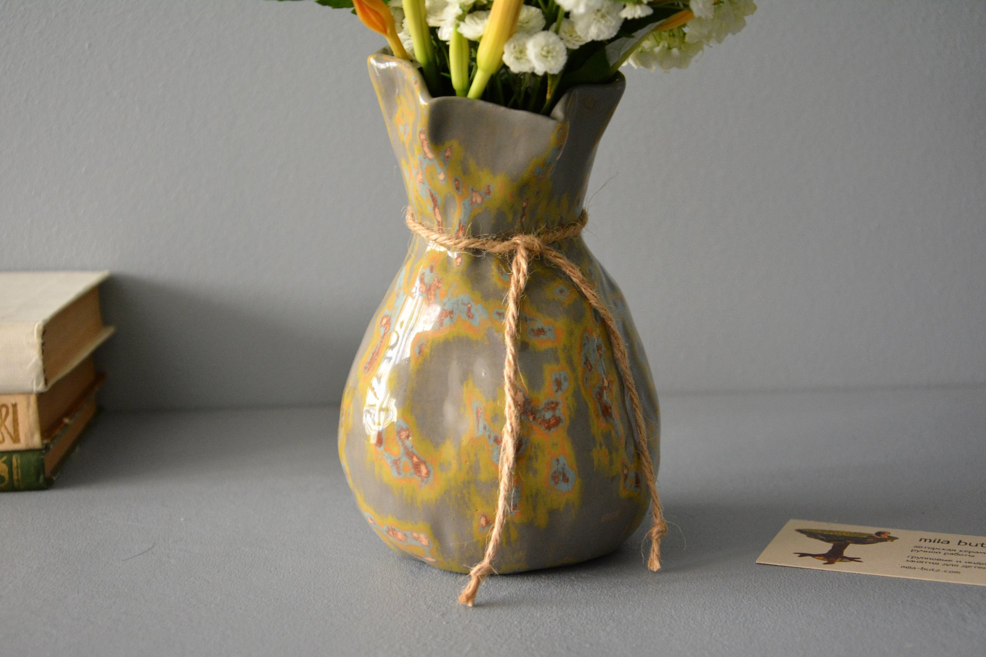 Decorative ceramic vase — Shabby Pouch, height - 17 cm, color - gray, photo 6 of 6. 1048.