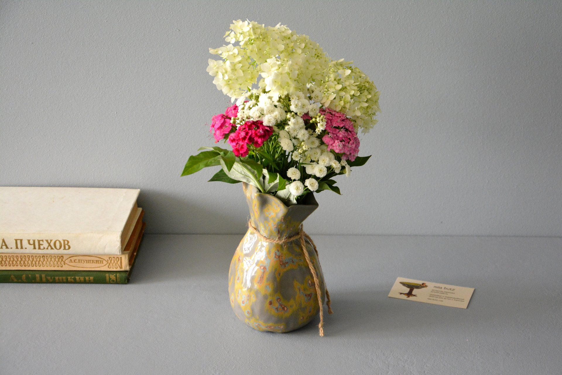 Interior vase «Shabby gray Bagful», height - 17 cm, color - gray. Photo 992.