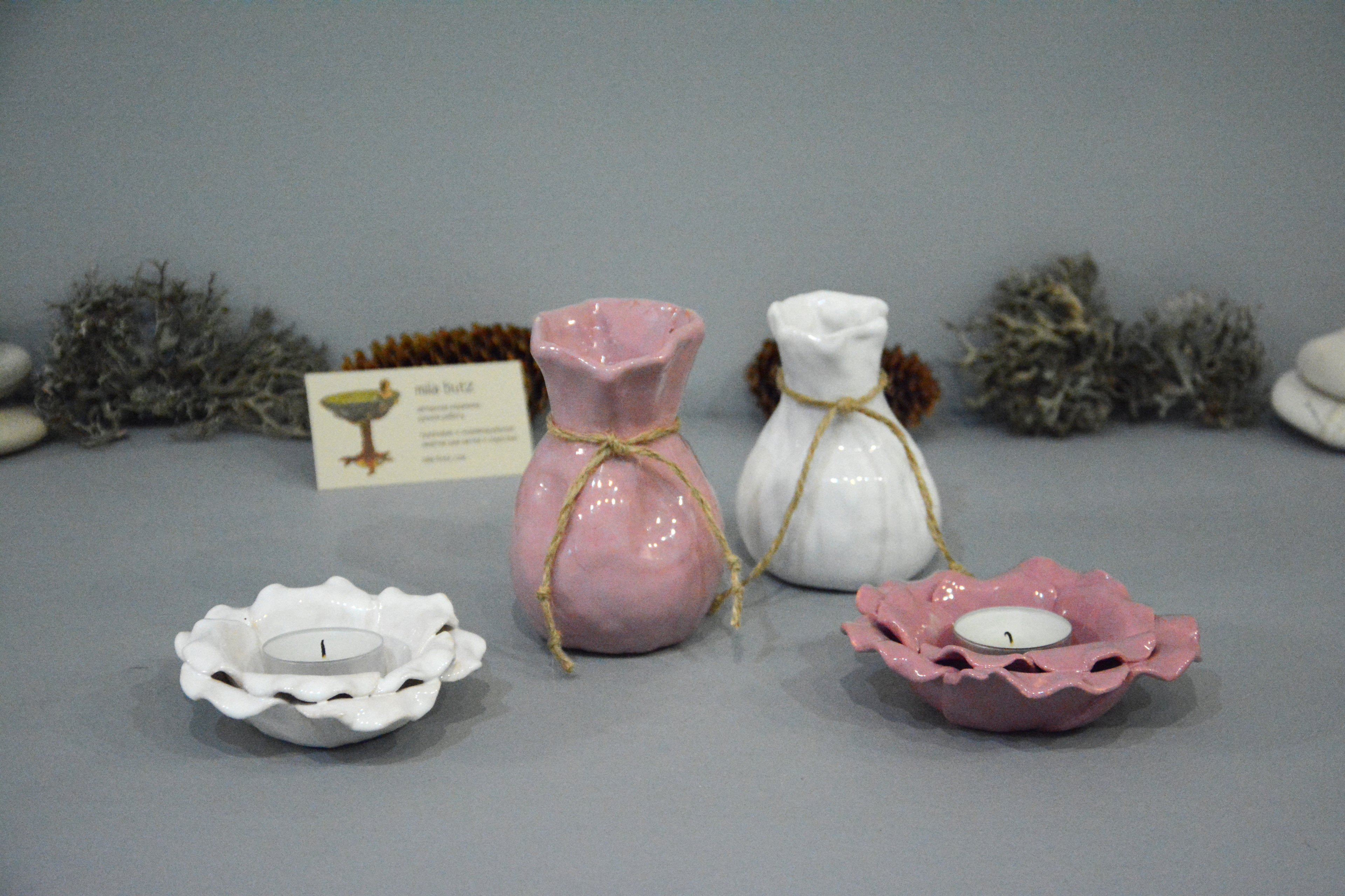 Ceramic small vase candlestick «Pink Bagful», height - 11 cm, photo 6 of 6. 1296.