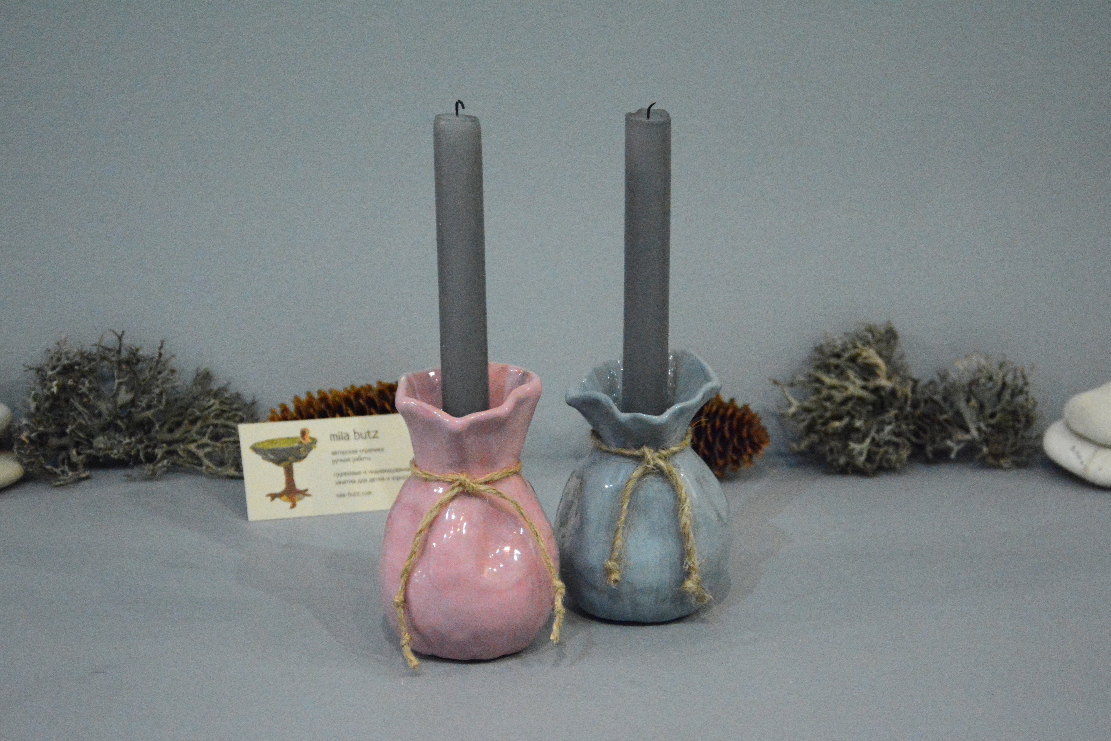 Ceramic small vase candlestick «Pink Bagful», height - 11 cm, photo 5 of 6. 1295.