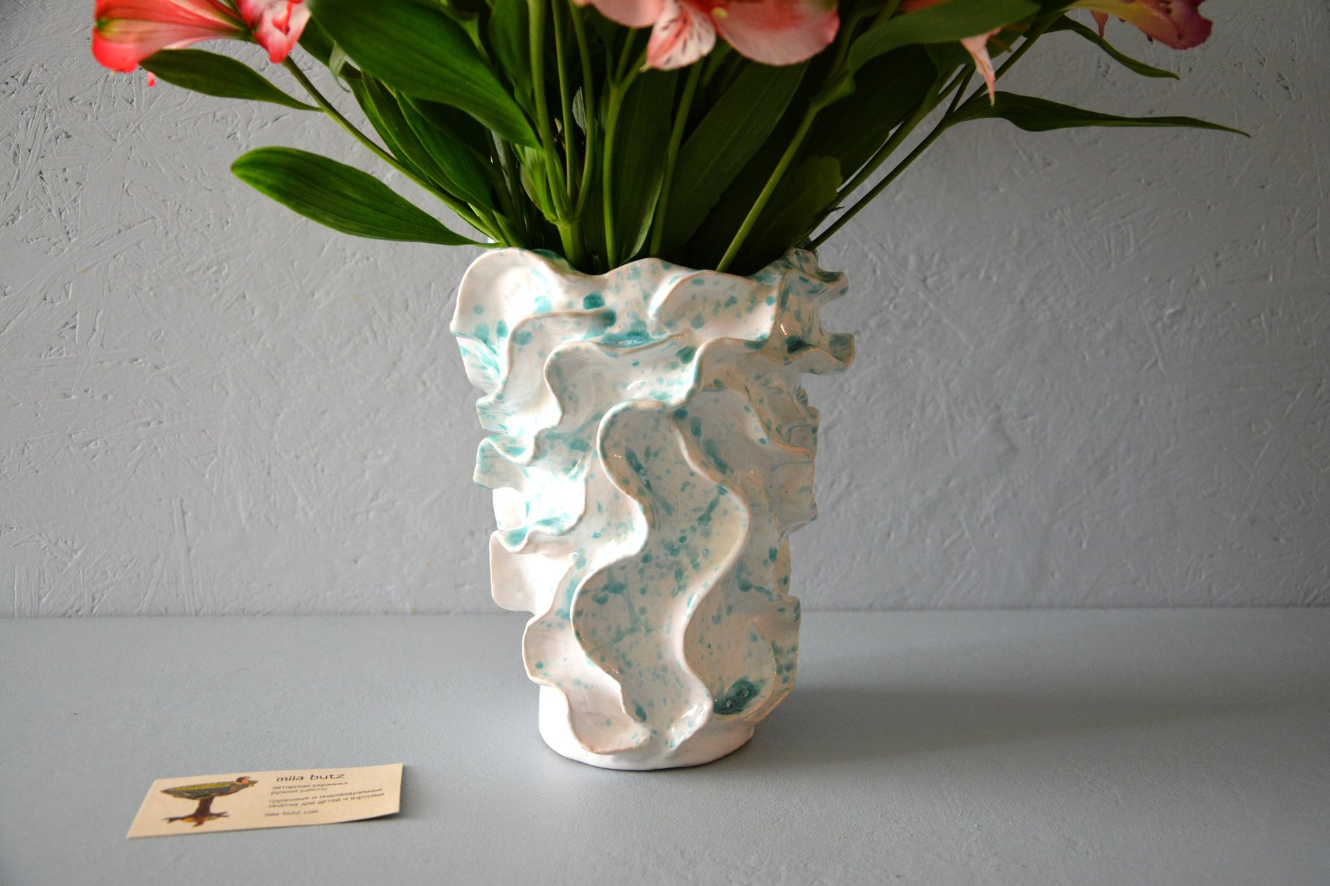 Decorative ceramic vase wave, height - 22 cm, photo 4 of 6. 608.