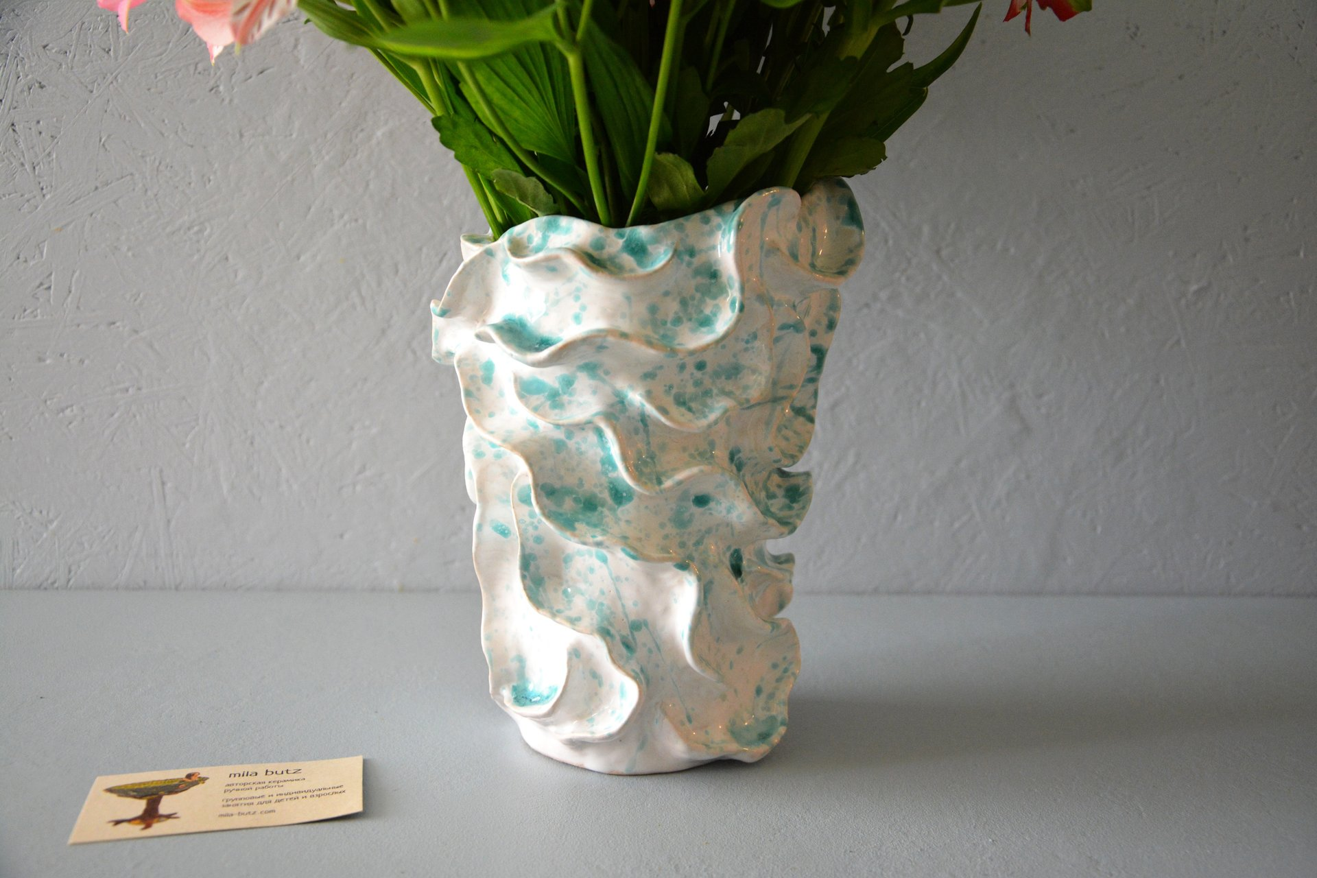 Decorative ceramic vase wave, height - 22 cm, photo 5 of 6. 609.