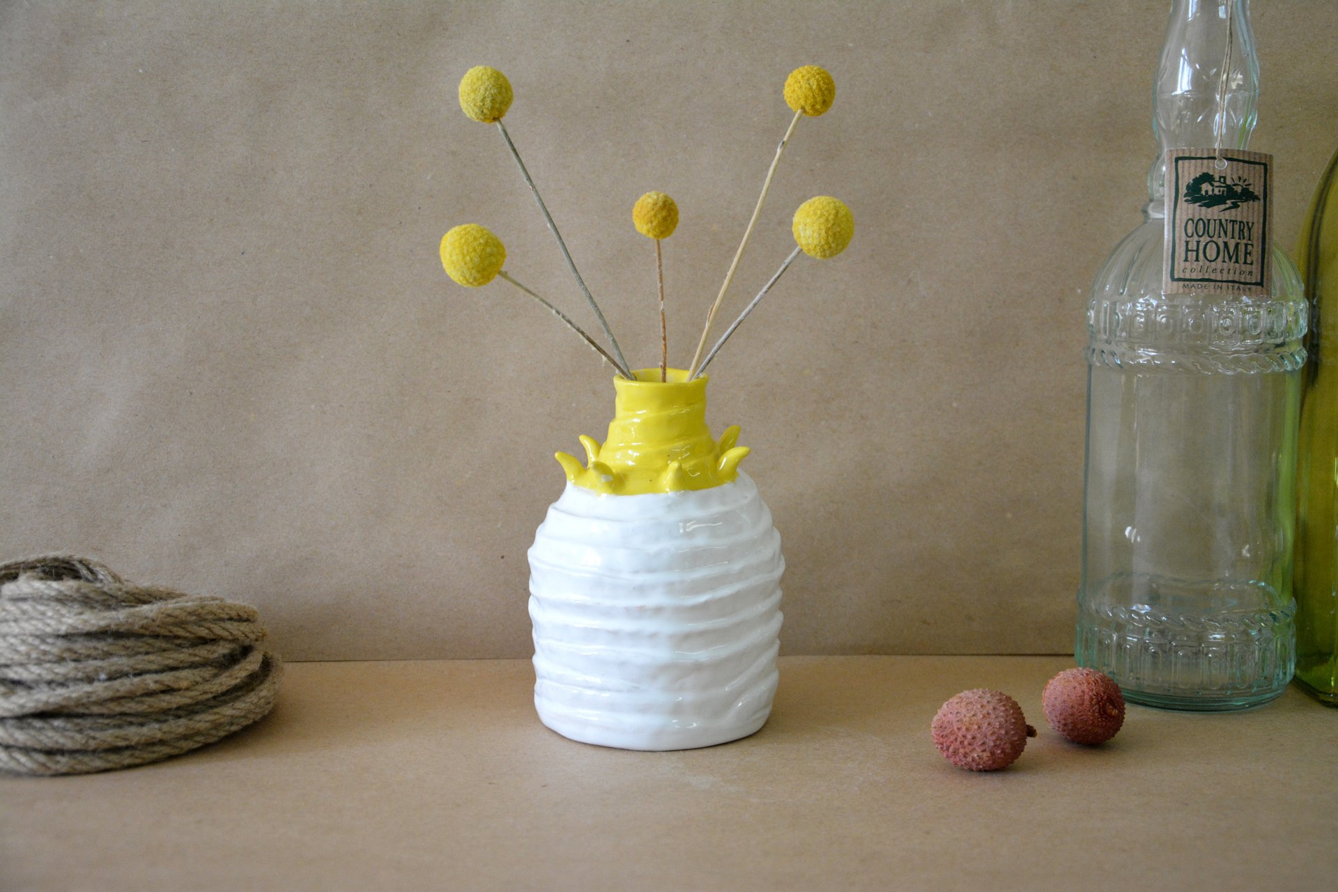 Decorative white-yellow vase Tourniquets, height - 13,5 cm, photo 4 of 7. 604.