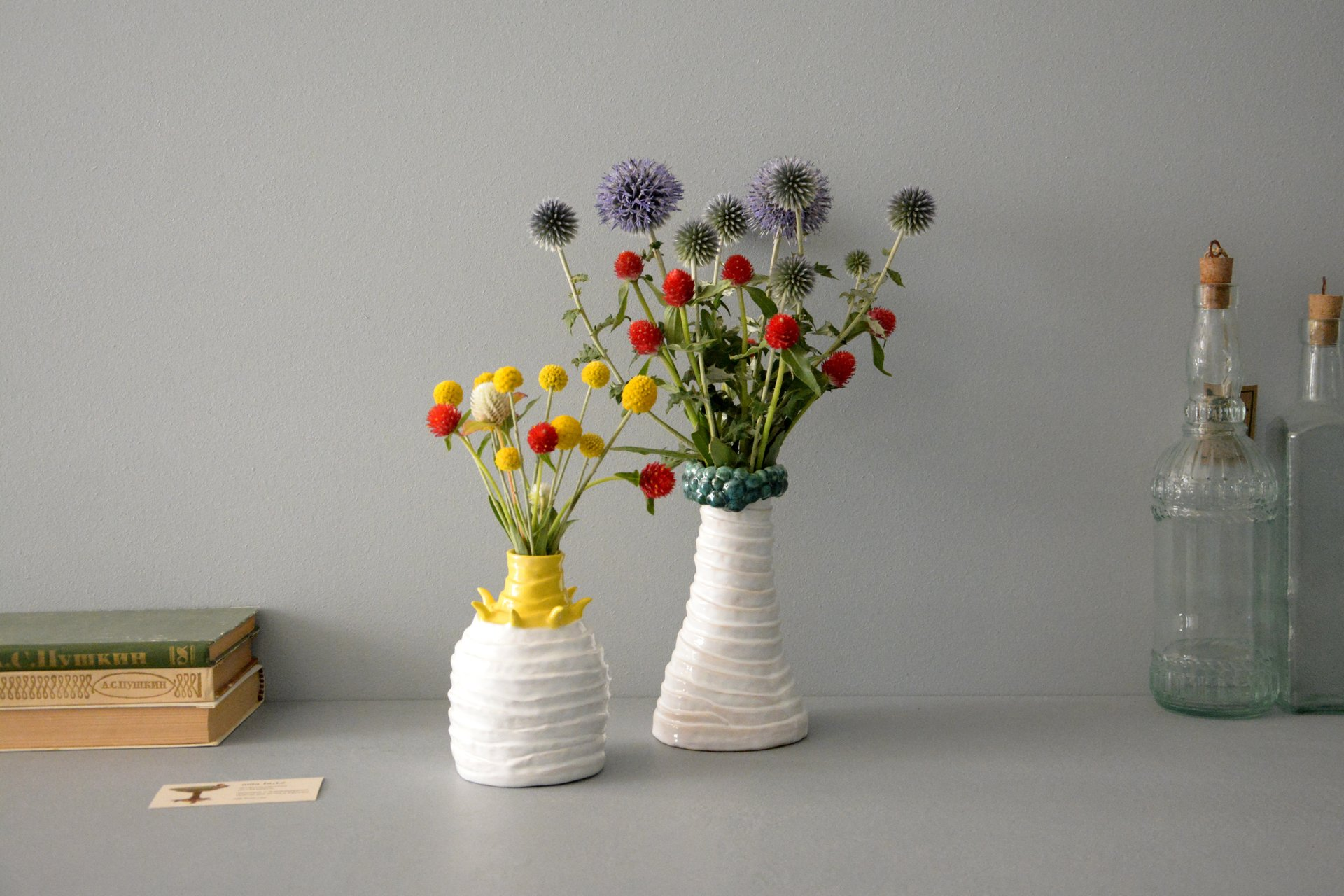 Decorative white-yellow vase Tourniquets, height - 13,5 cm, photo 6 of 7. 1163.