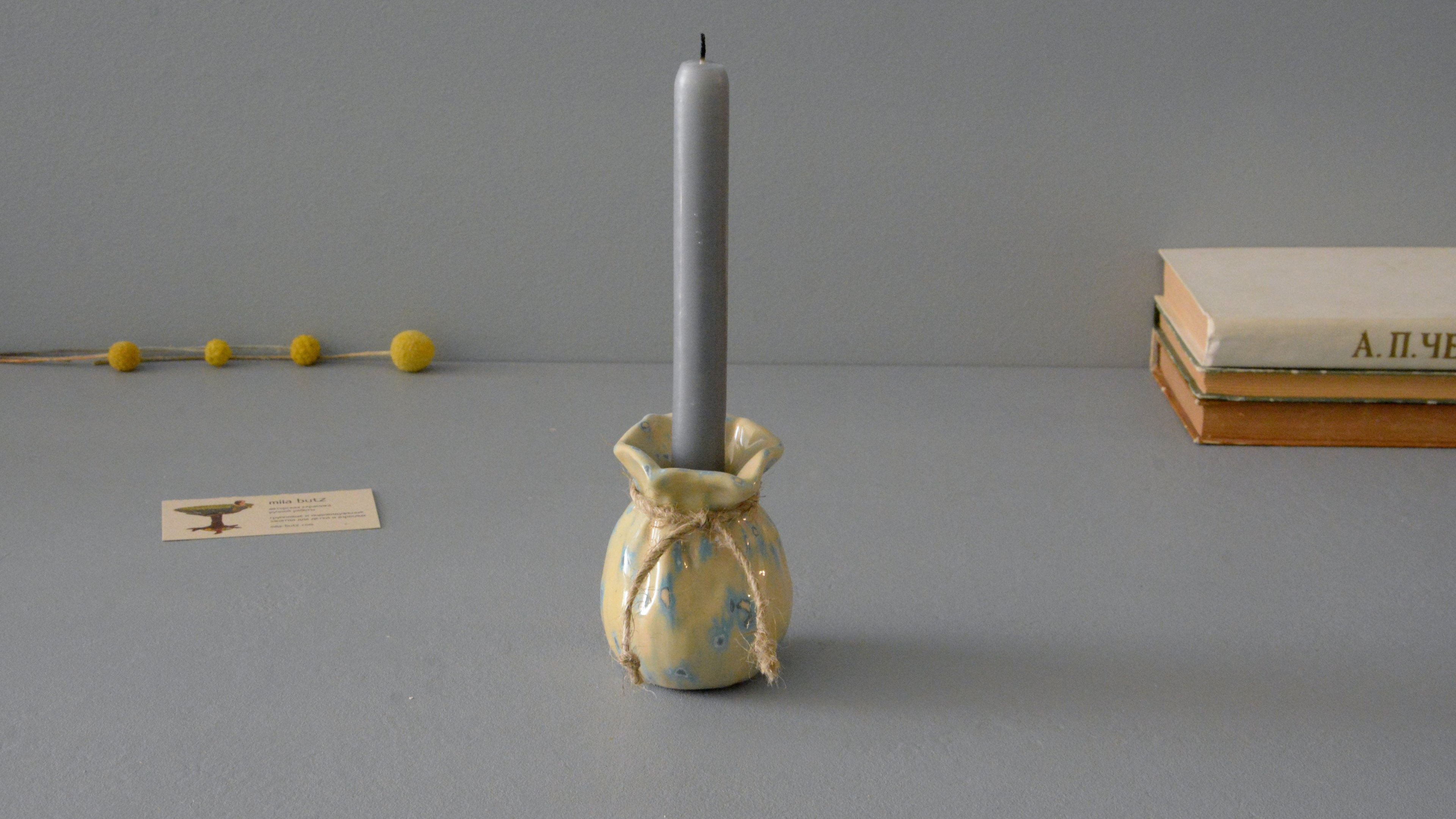 Candle vase «Beige Bagful», height - 9 cm, color - beige. Photo 1277-3840-2160.