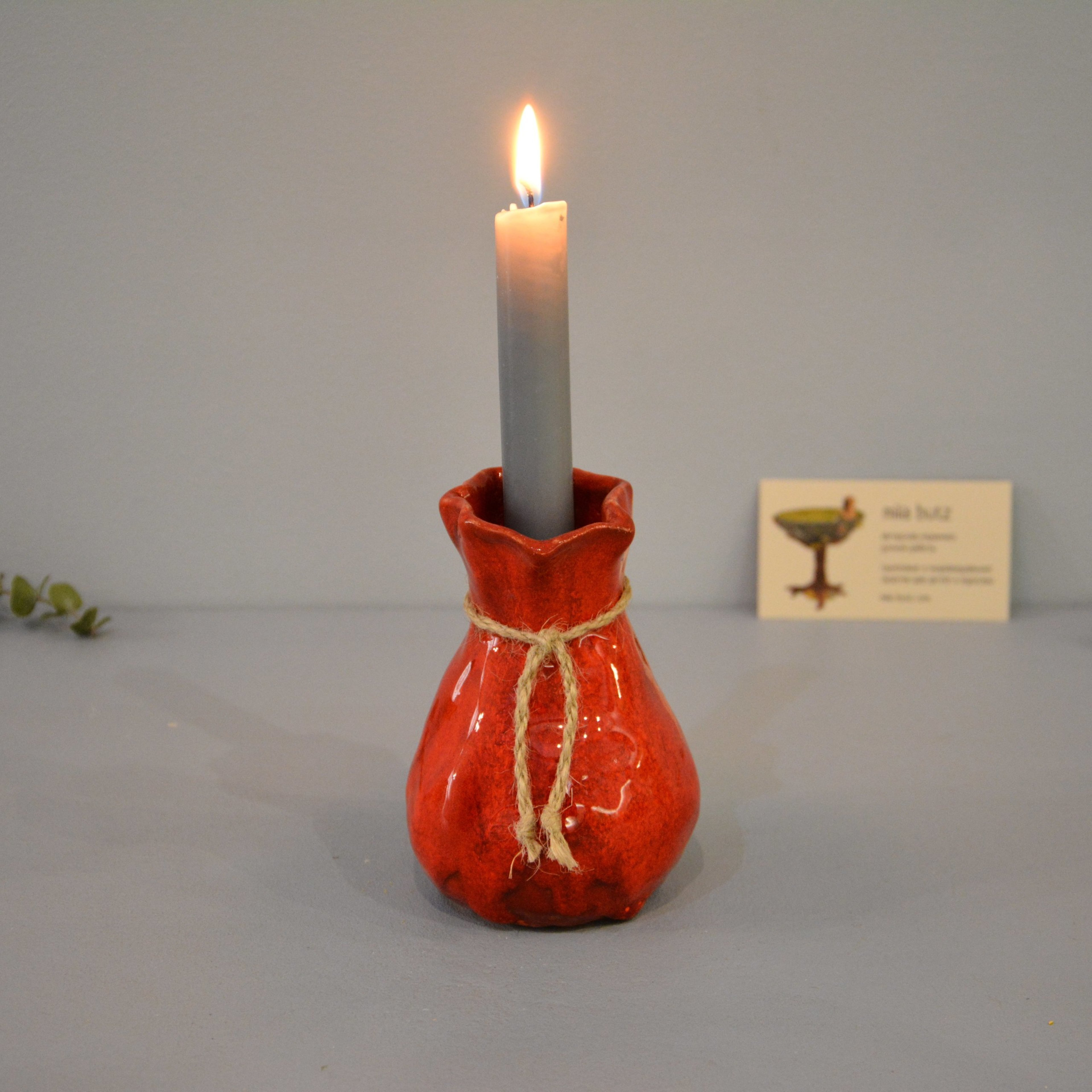 Candle vase «Red Bagful», height - 12 cm, color - red. Photo 1422-3840-3840.