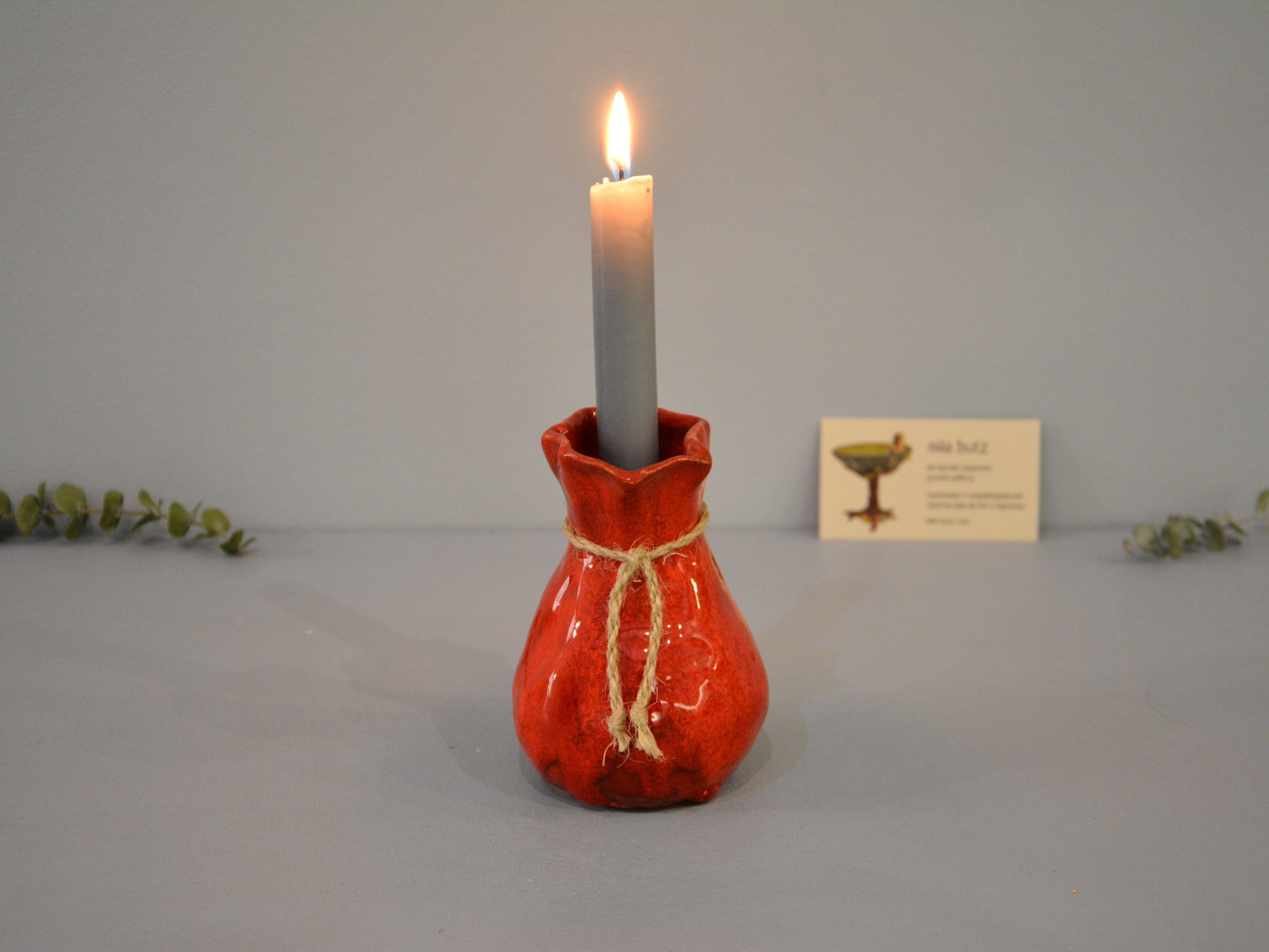 Candle vase «Red Bagful», height - 12 cm, color - red. Photo 1422-3840-2880.