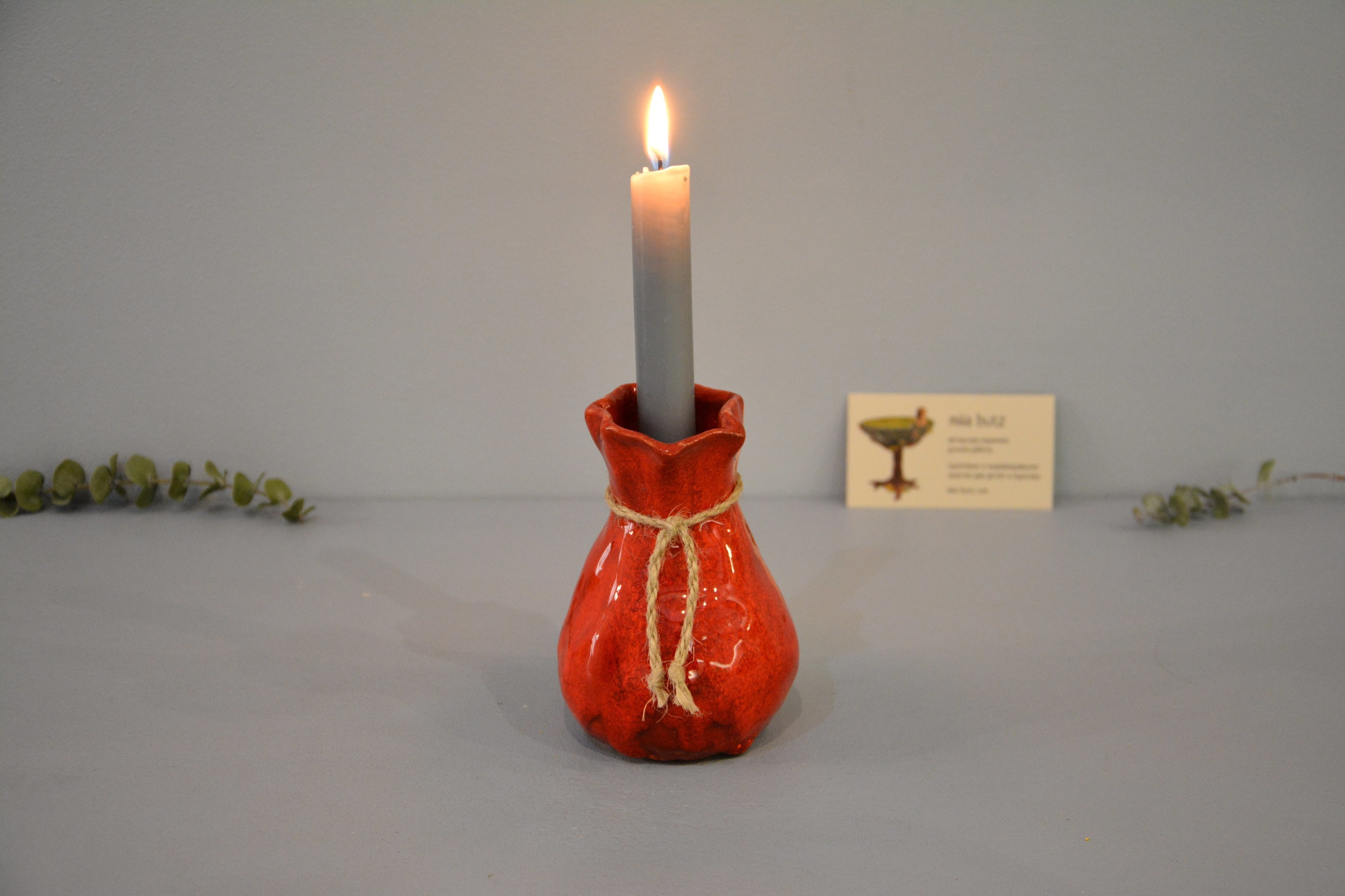 Candle vase «Red Bagful», height - 12 cm, color - red. Photo 1422.