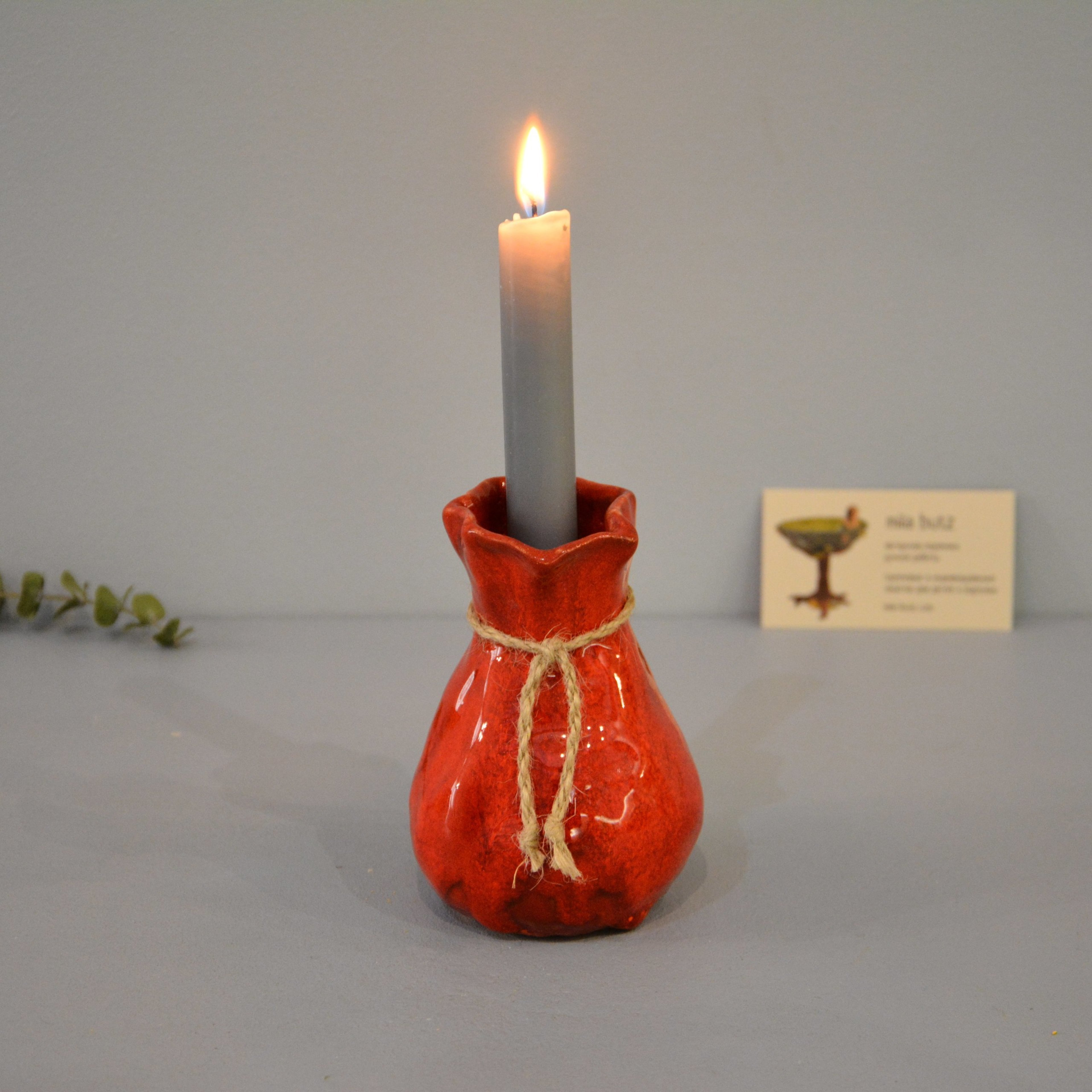 Candle vase «Red Bagful», height - 12 cm, color - red. Photo 1423-3840-3840.