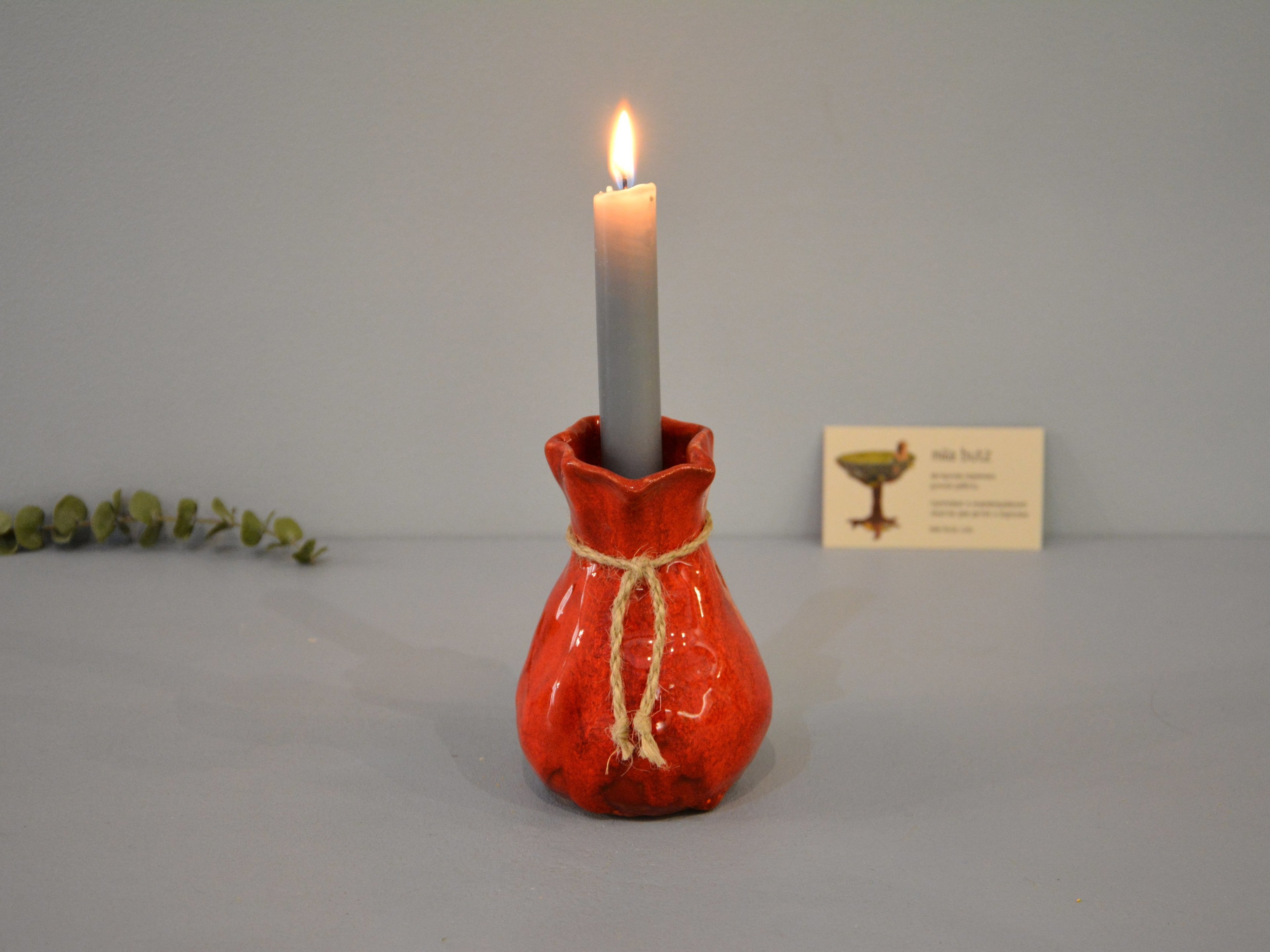 Candle vase «Red Bagful», height - 12 cm, color - red. Photo 1423-3840-2880.