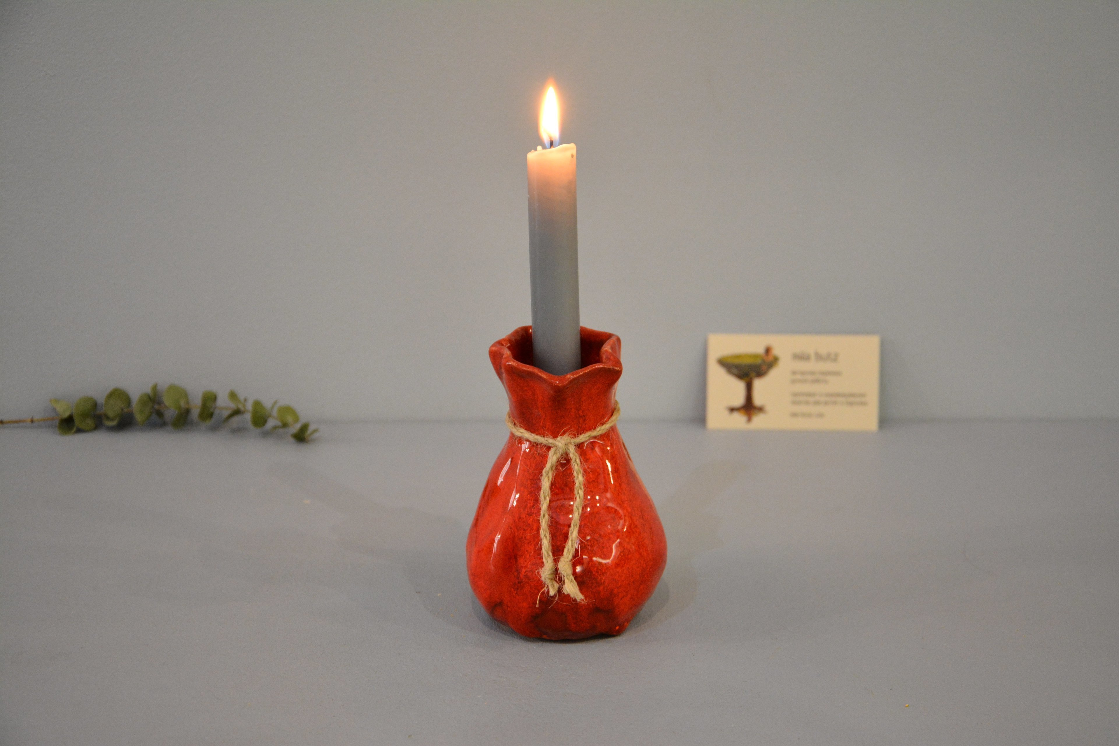 Candle vase «Red Bagful», height - 12 cm, color - red. Photo 1423.