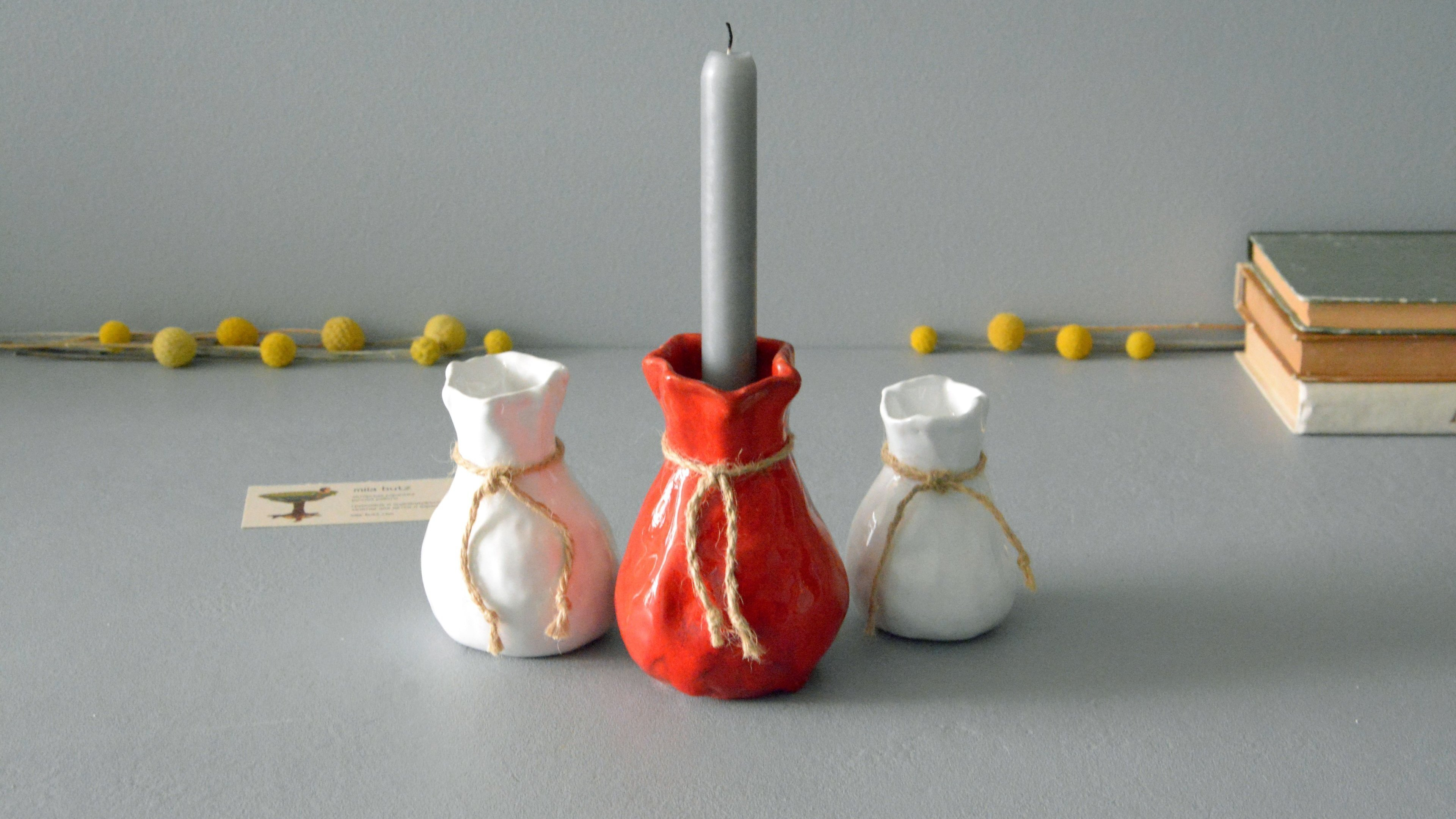 Candle vase «Red Bagful», height - 12 cm, color - red. Photo 1411-3840-2160.