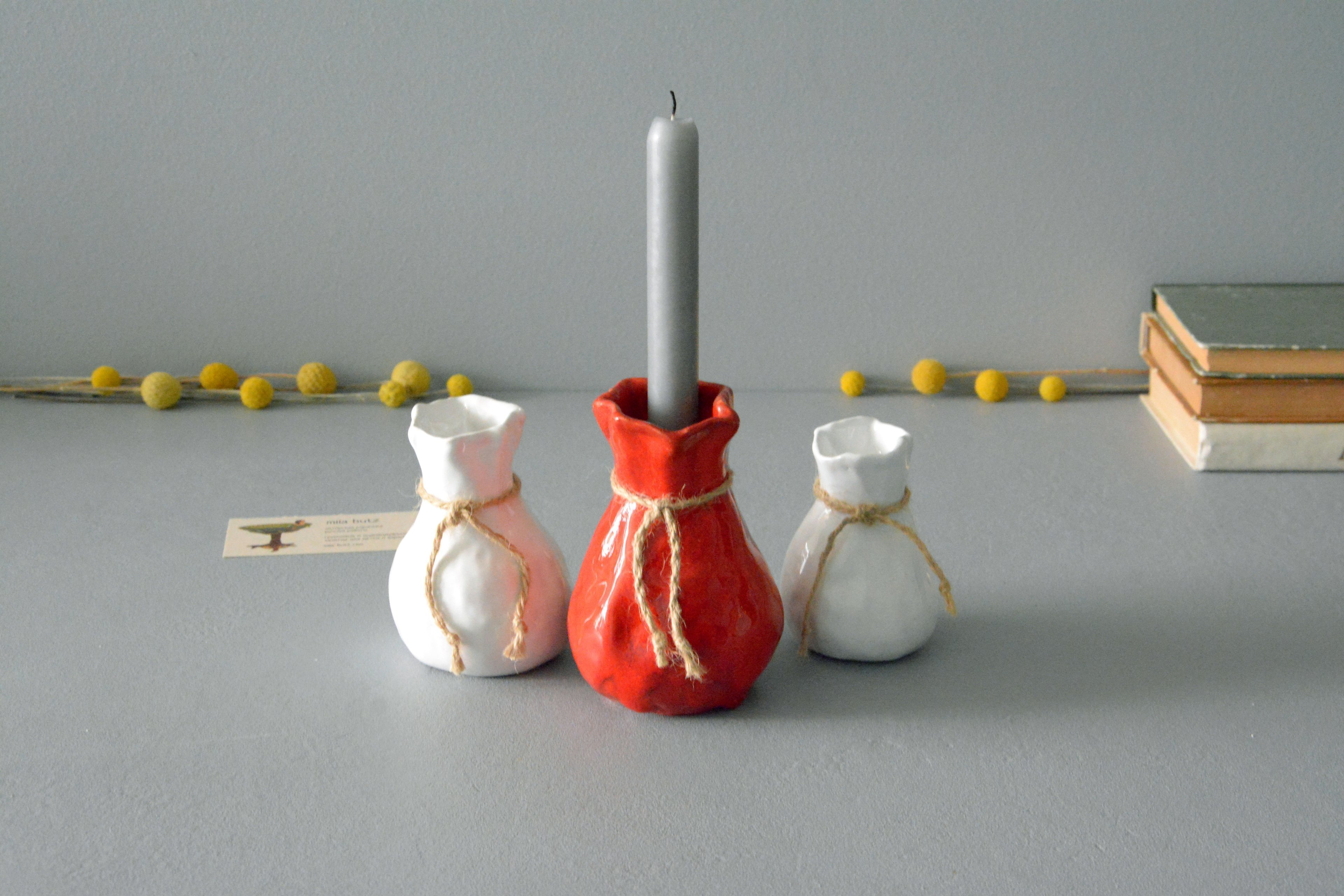 Candle vase «Red Bagful», height - 12 cm, color - red. Photo 1411.