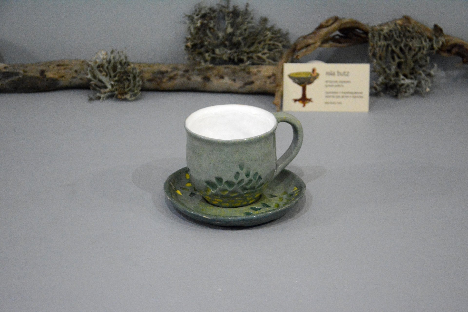 Gray cup for tea or coffee, height - 7 cm, volume - 220 ml, photo 5 of 8.