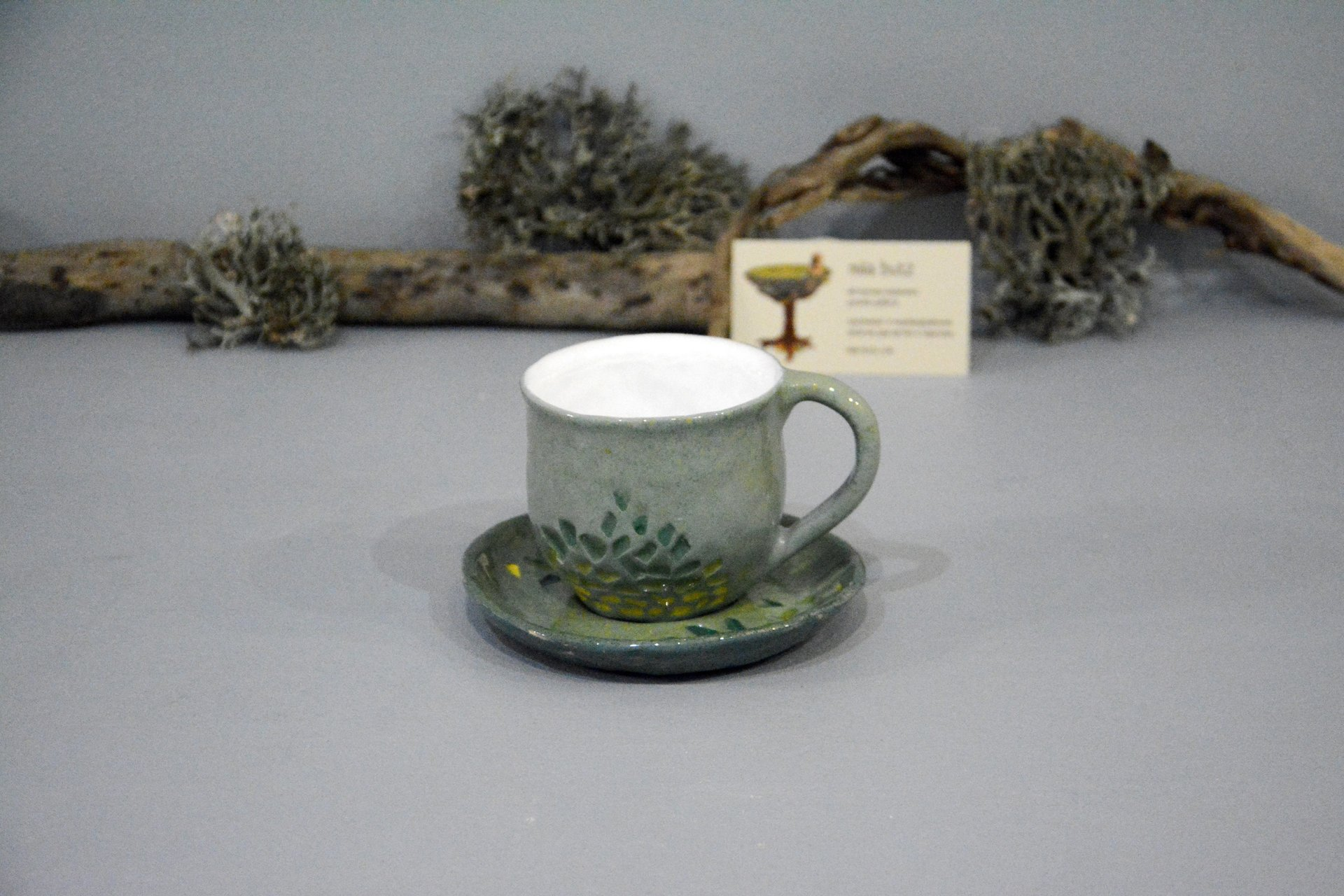 Gray cup for tea or coffee, height - 7 cm, volume - 220 ml, photo 2 of 8.