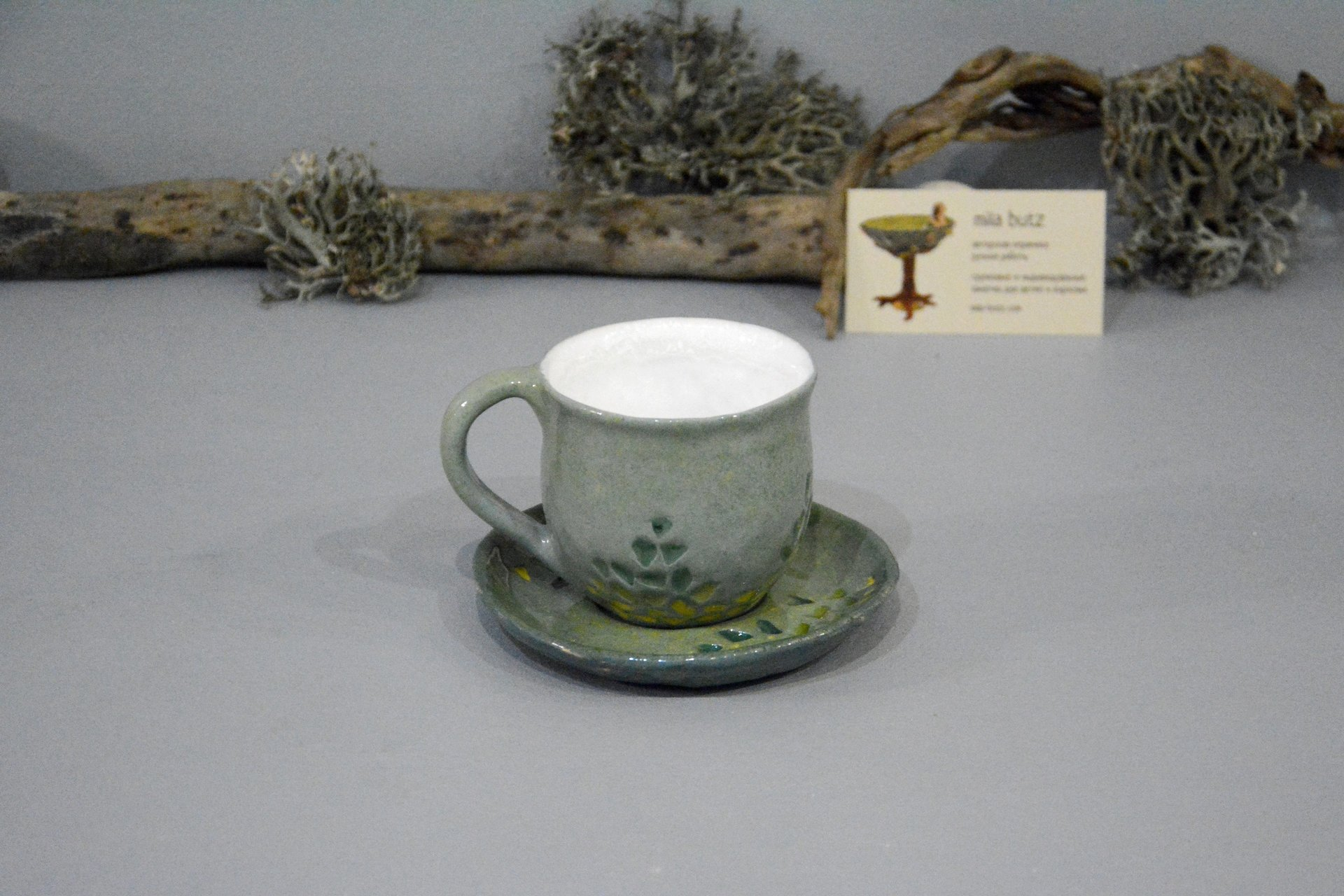Gray cup for tea or coffee, height - 7 cm, volume - 220 ml, photo 3 of 8.