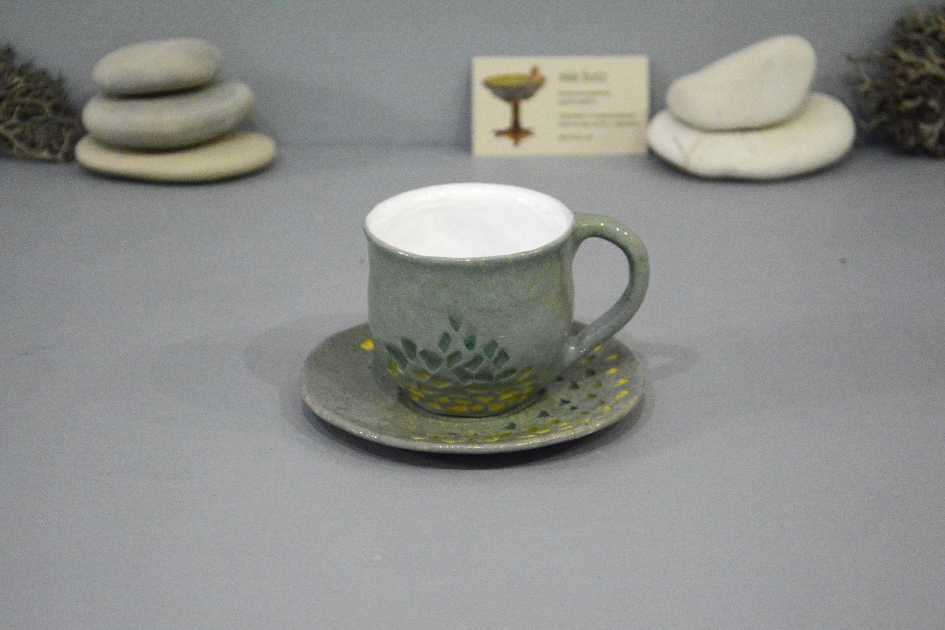 Gray cup for tea or coffee, height - 7 cm, volume - 220 ml, photo 1 of 8.