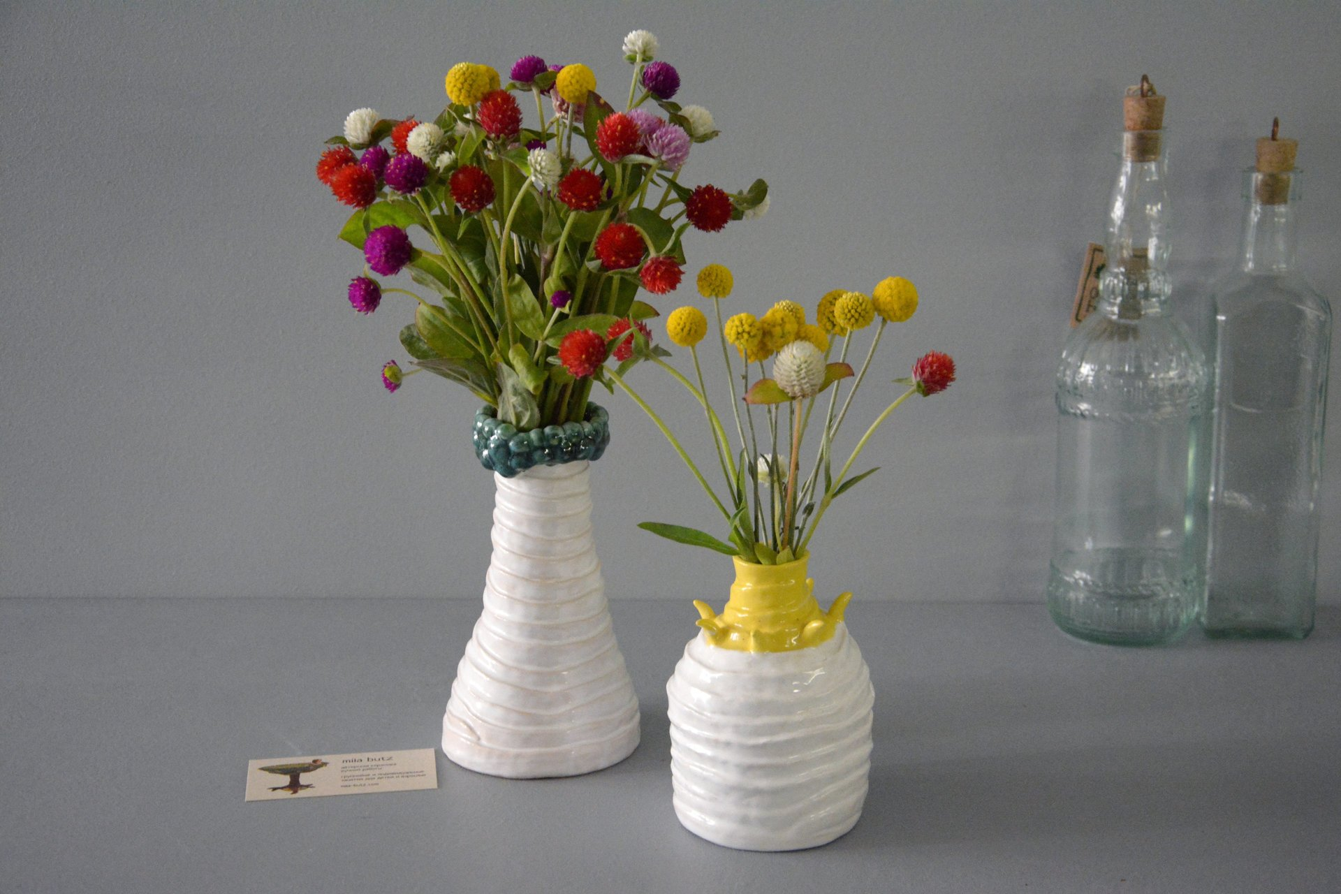 Decorative white-yellow vase Tourniquets, height - 13,5 cm, photo 7 of 7. 1252.