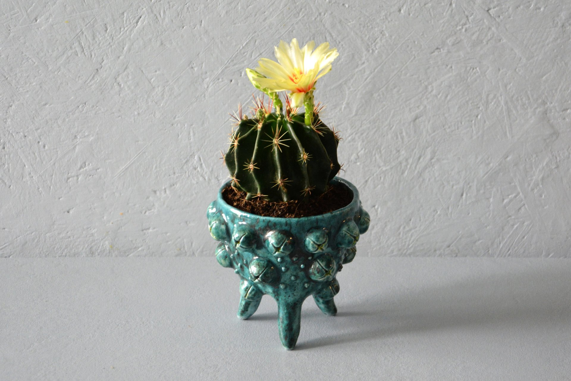 Ceramic cachepot for cactus on the legs Turquoise flicker, diameter - 10 cm, height - 9.5 cm, photo 3 of 4.
